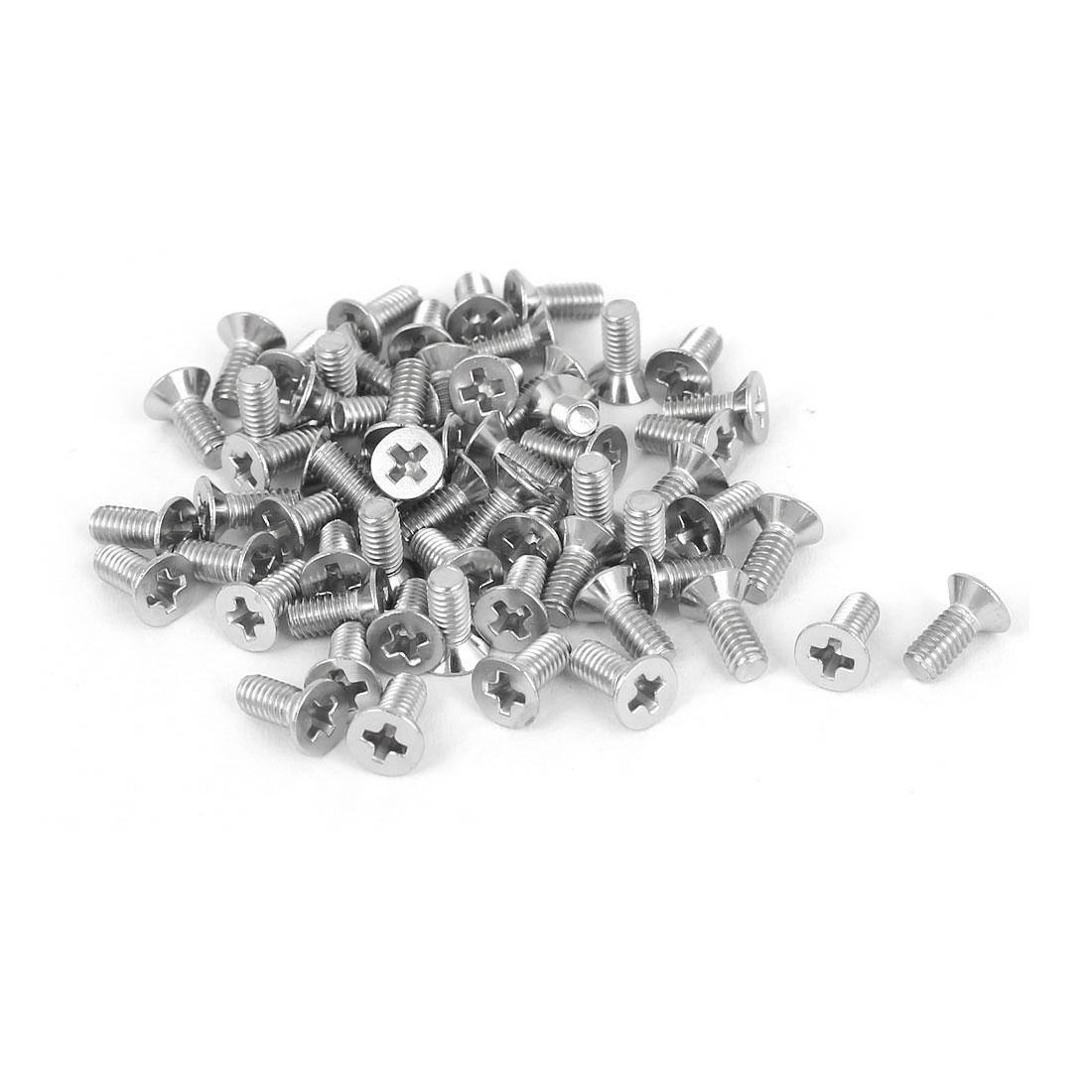 60 Pcs M2.5x6mm 316 Stainless Steel Flat Head Phillips Machine Screws Bolts