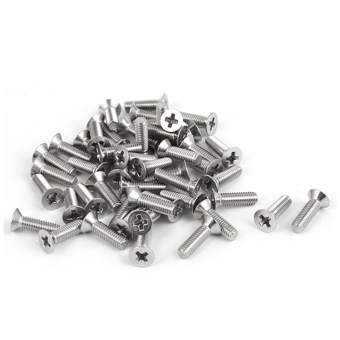 50 Pcs M3x10mm 316 Stainless Steel Flat Head Phillips Machine Screws Silver Tone