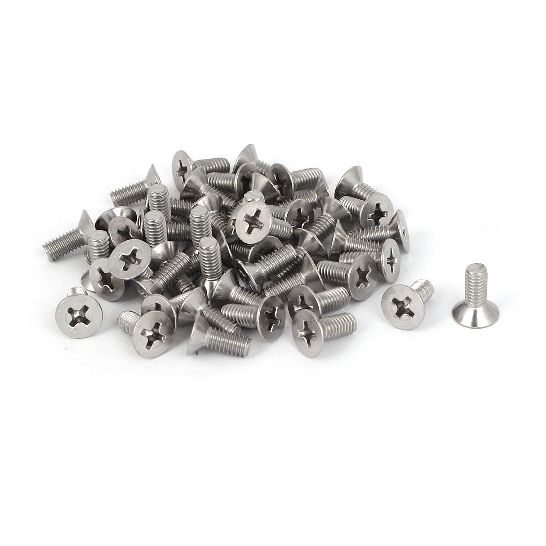 50 Pcs M4x10mm 316 Stainless Steel Flat Head Phillips Machine Screws Bolts