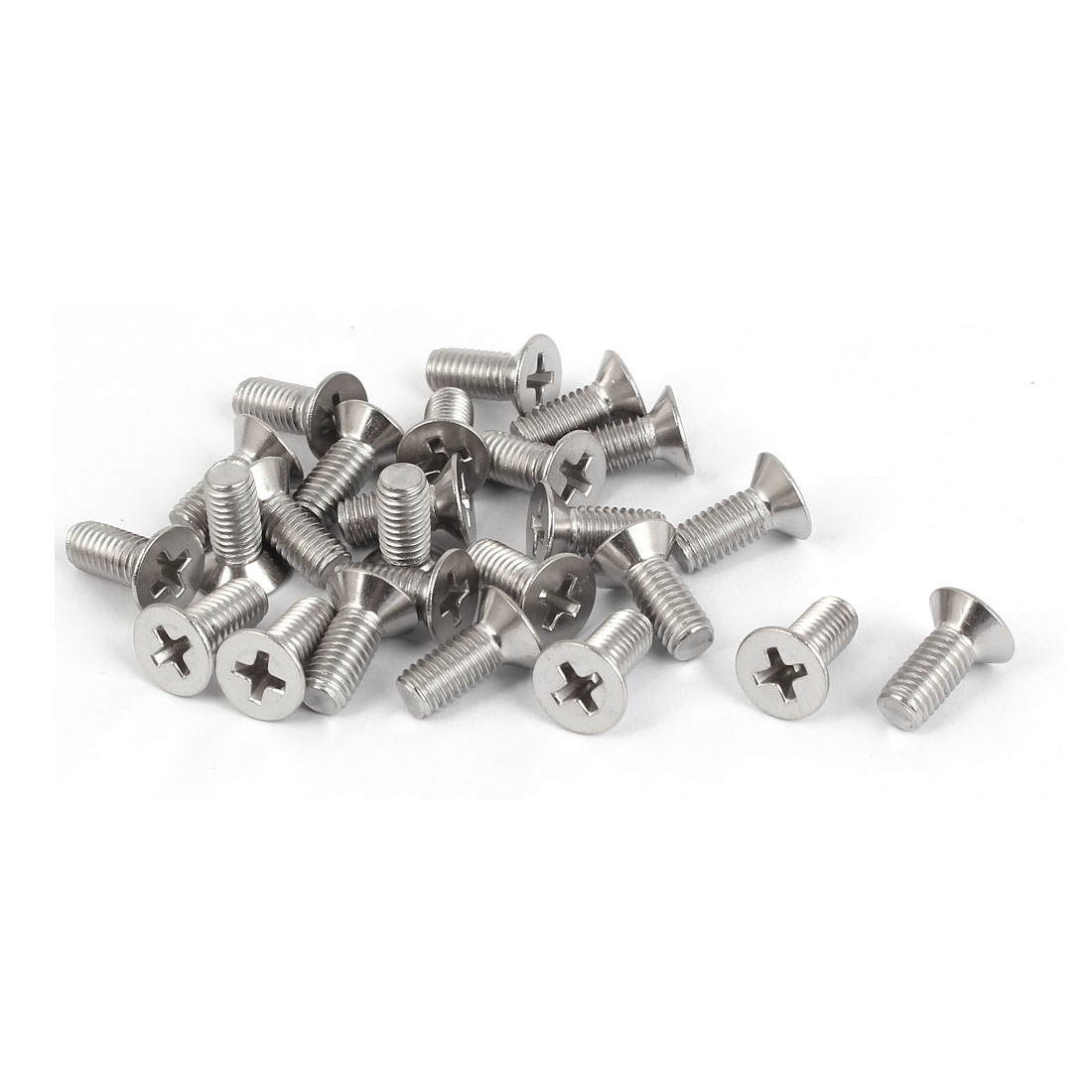 25 Pcs M5x12mm 316 Stainless Steel Countersunk Phillips Machine Screws Bolts