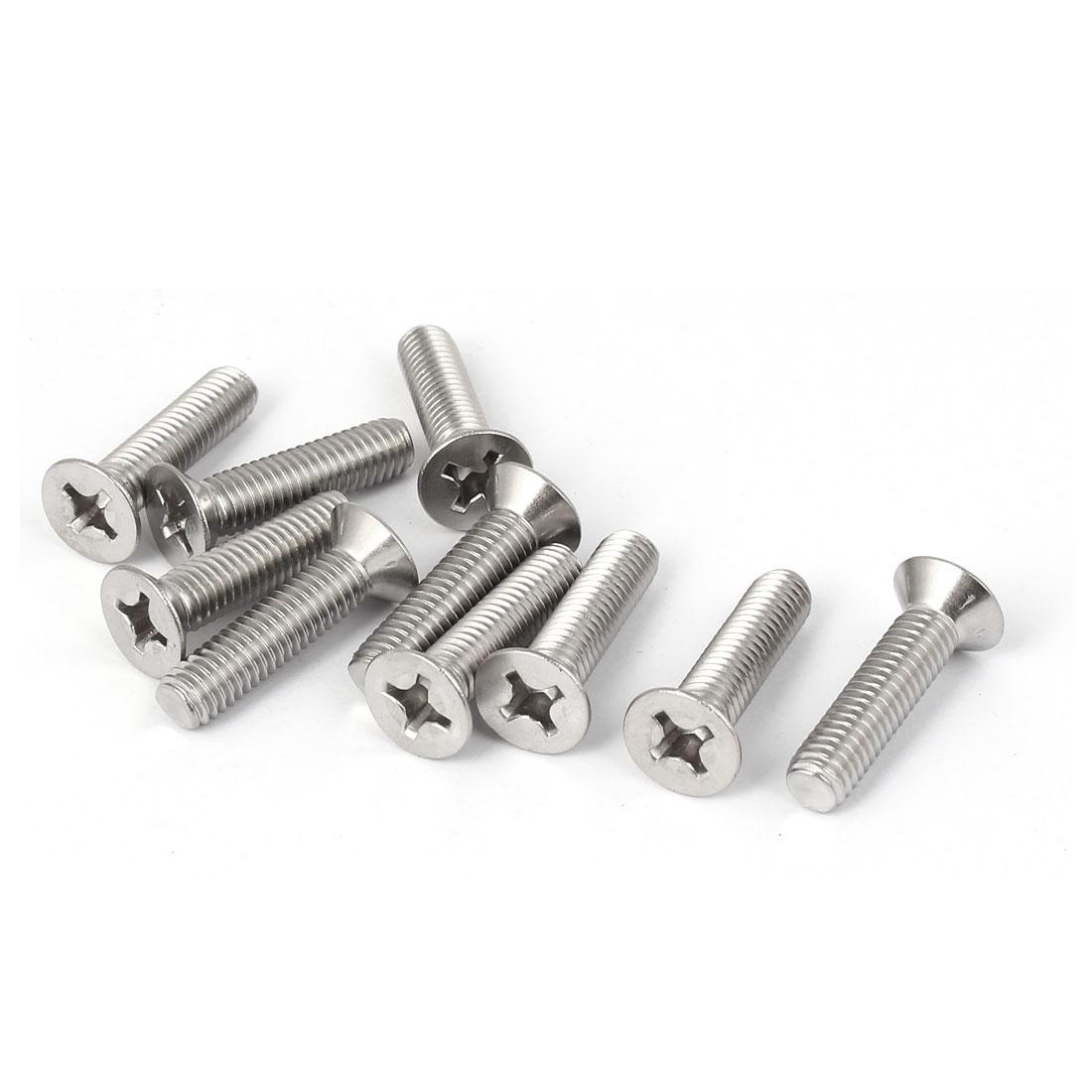 10 Pcs M6x25mm 316 Stainless Steel Flat Head Phillips Machine Screws Fasteners