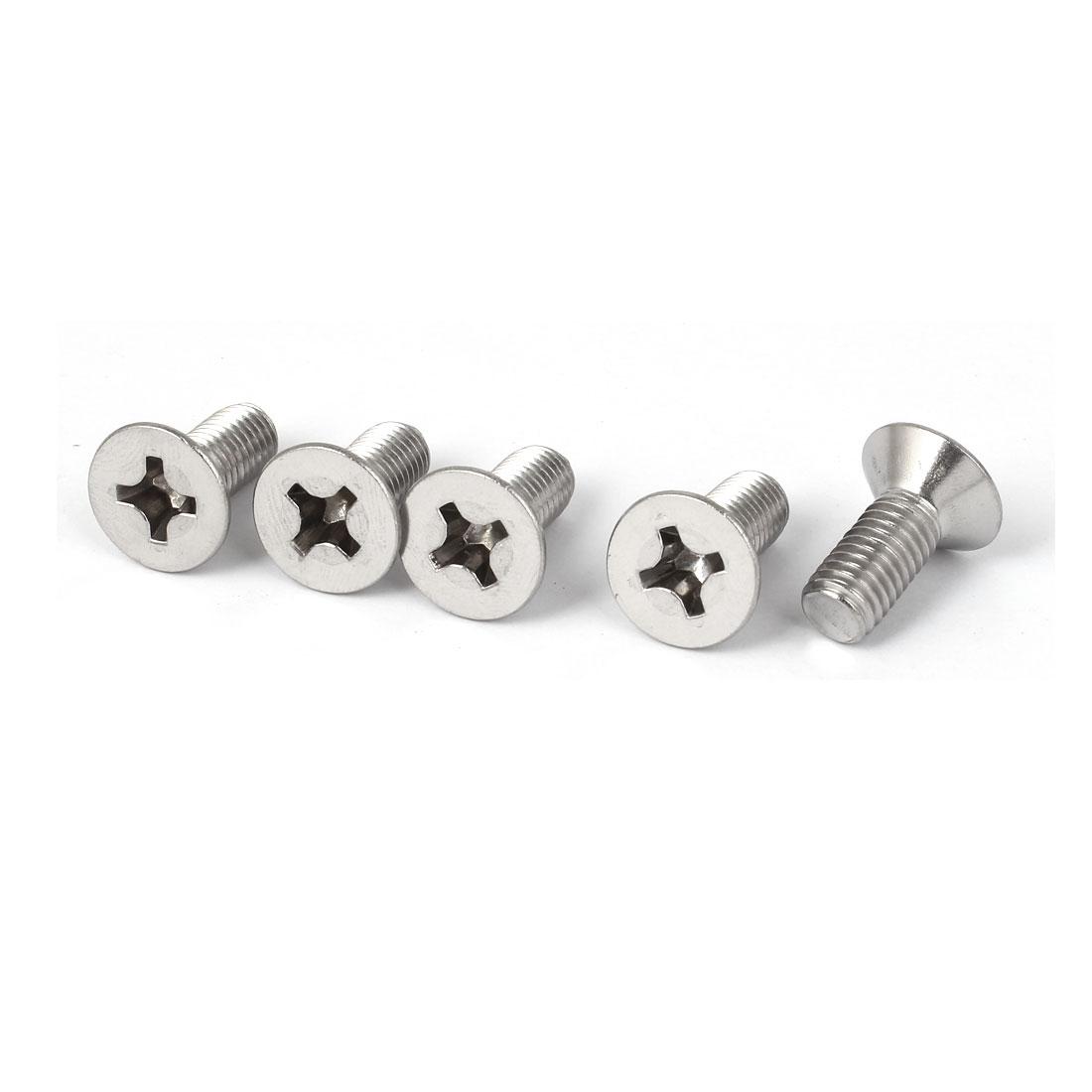 5 Pcs M8x20mm 316 Stainless Steel Flat Head Phillips Machine Screws Fasteners