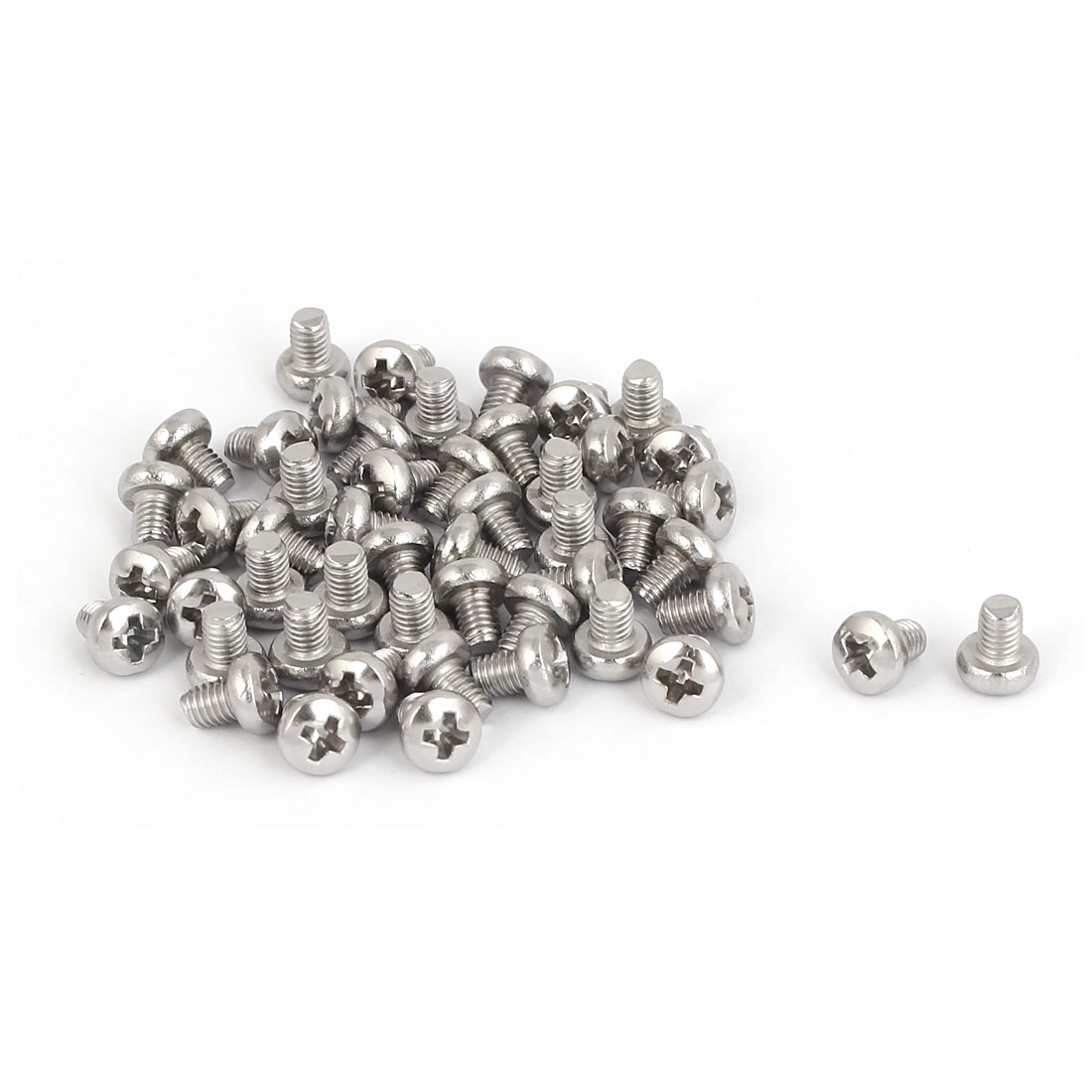 50 Pcs M3x4mm 316 Stainless Steel Phillips Pan Head Machine Screws Fasteners