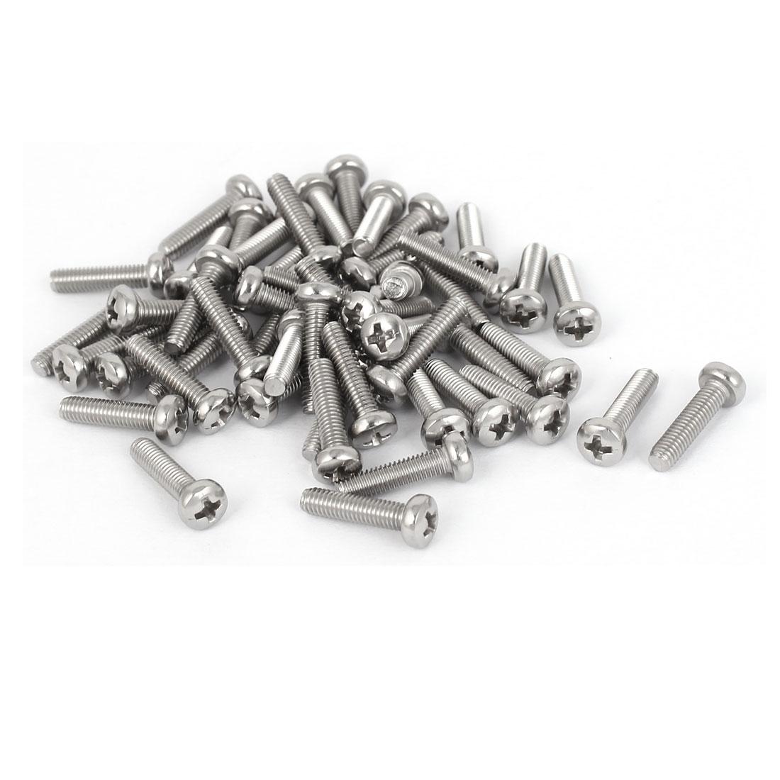 50 Pcs M3x12mm 316 Stainless Steel Metric Phillips Pan Head Machine Screws Bolts