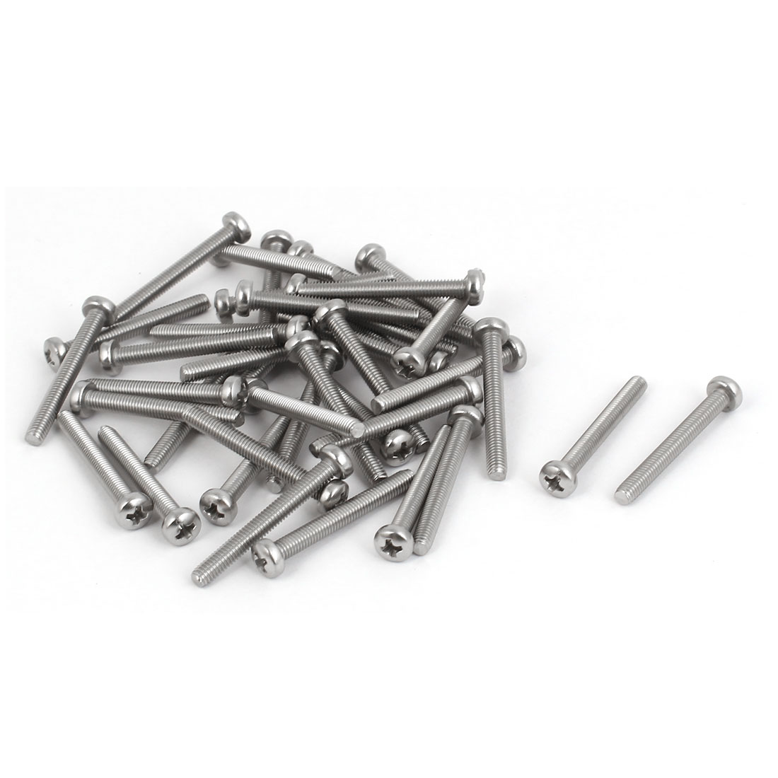 40 Pcs M3x25mm 316 Stainless Steel Phillips Pan Head Machine Screws Silver Tone