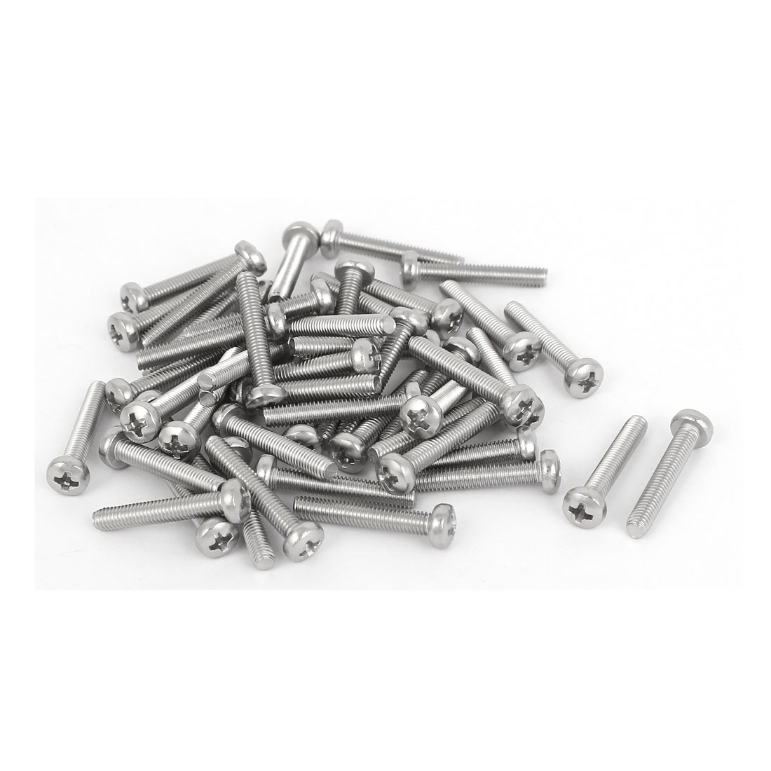 50 Pcs M3x18mm 316 Stainless Steel Phillips Pan Head Machine Screws Silver Tone