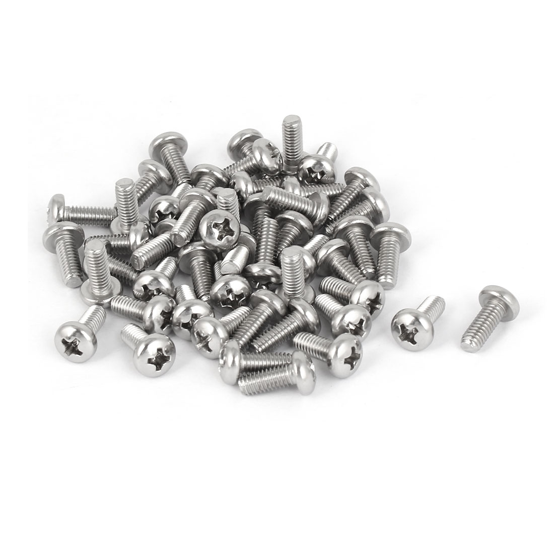 50 Pcs M4x10mm 316 Stainless Steel Phillips Pan Head Machine Screws Fasteners