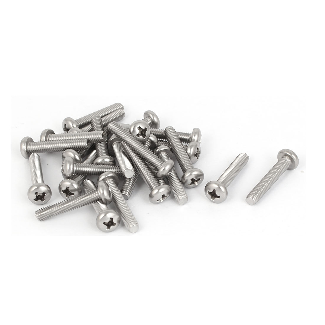 25 Pcs M4x22mm 316 Stainless Steel Phillips Pan Head Machine Screws Silver Tone