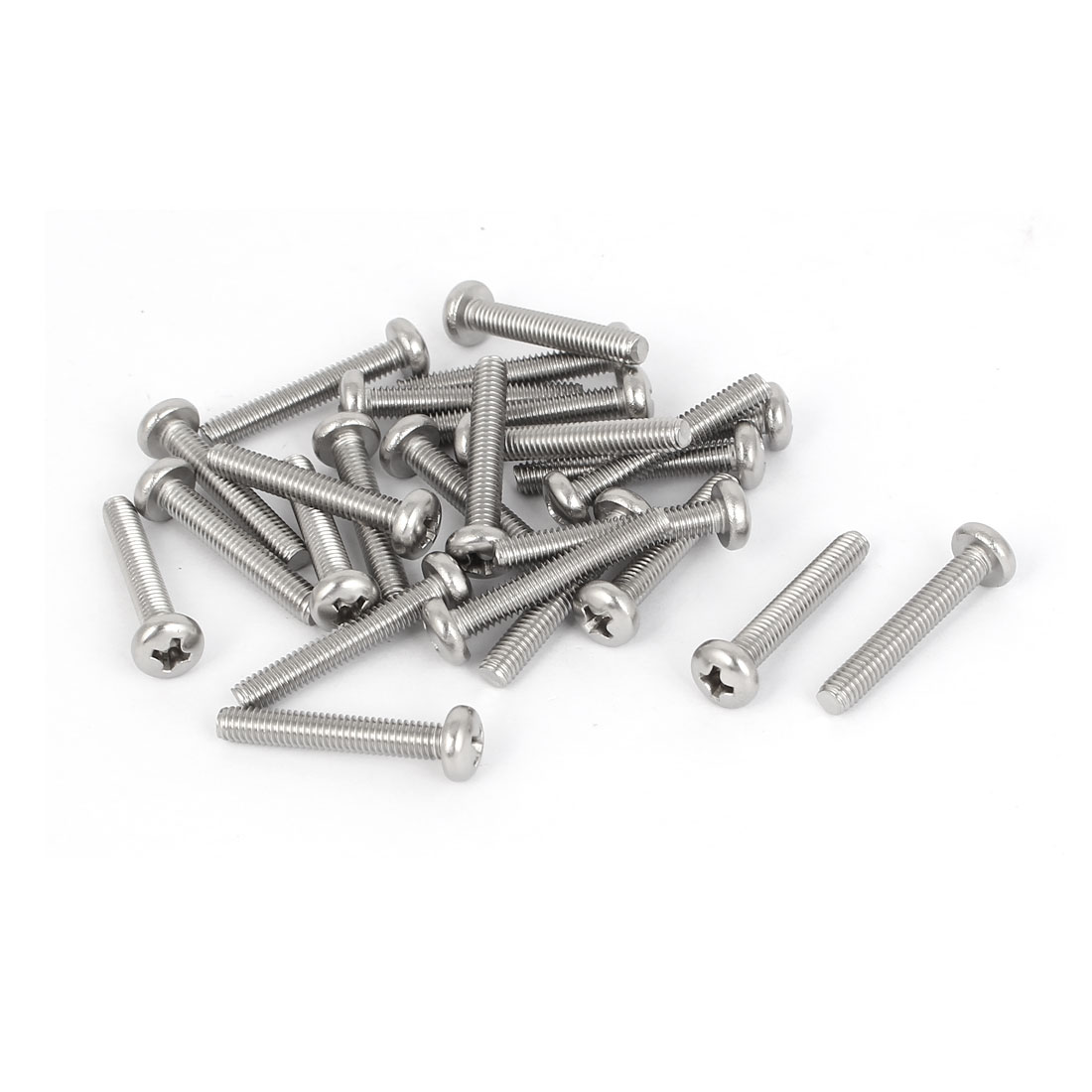 25 Pcs M4x25mm 316 Stainless Steel Phillips Pan Head Machine Screws 28mm Long