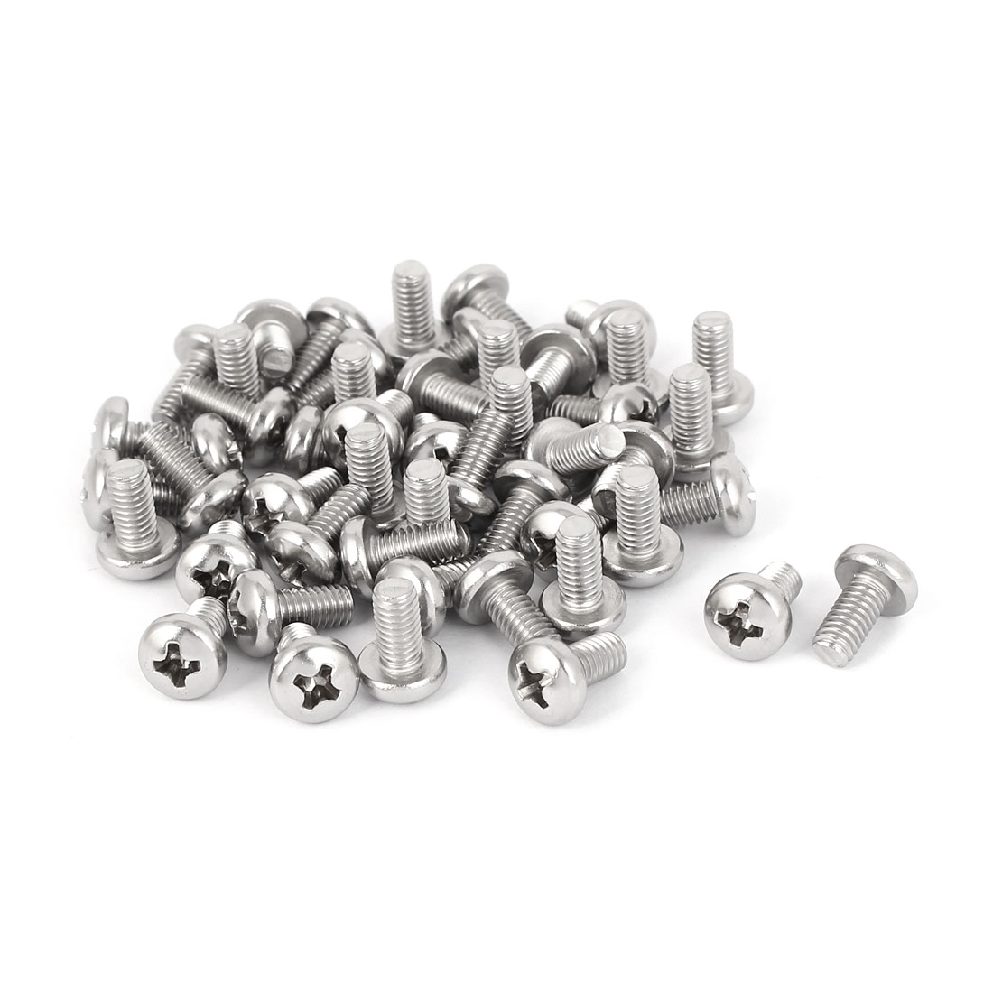 50 Pcs M4x8mm 316 Stainless Steel Phillips Pan Head Machine Screws Fasteners