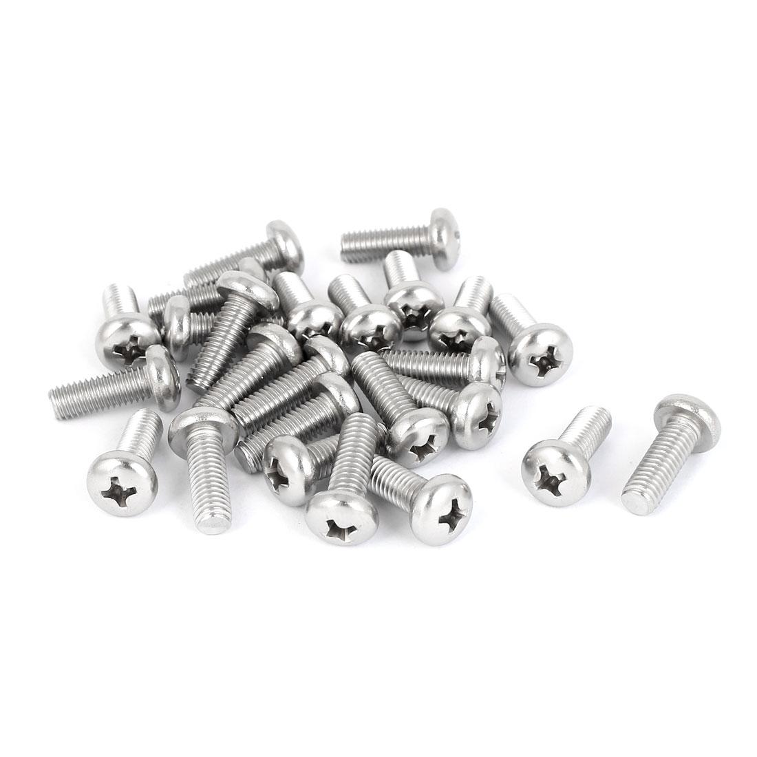 25 Pcs M5x14mm 316 Stainless Steel Phillips Pan Head Machine Screws Fasteners