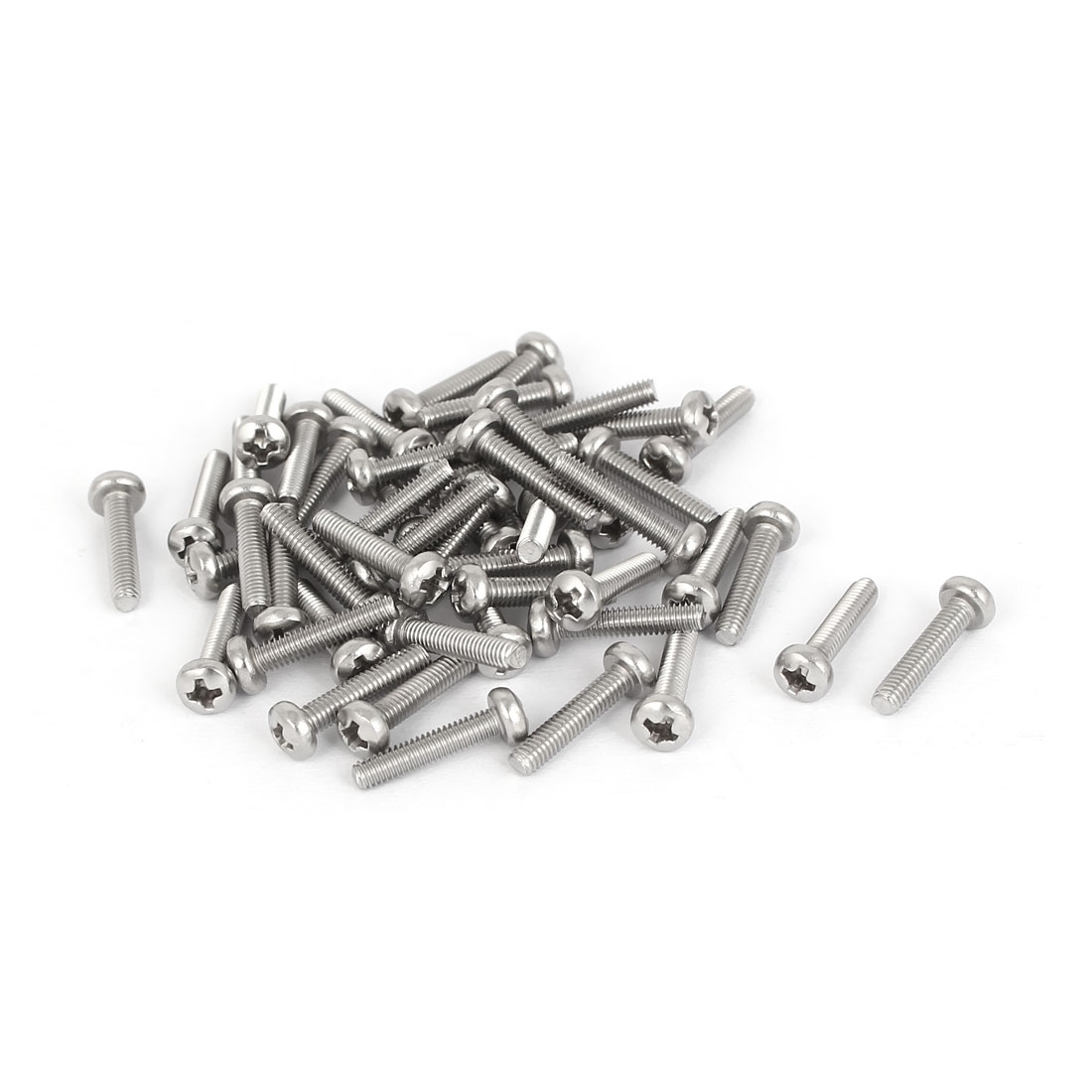 50 Pcs M2.5x12mm 316 Stainless Steel Phillips Pan Head Machine Screws Fasteners