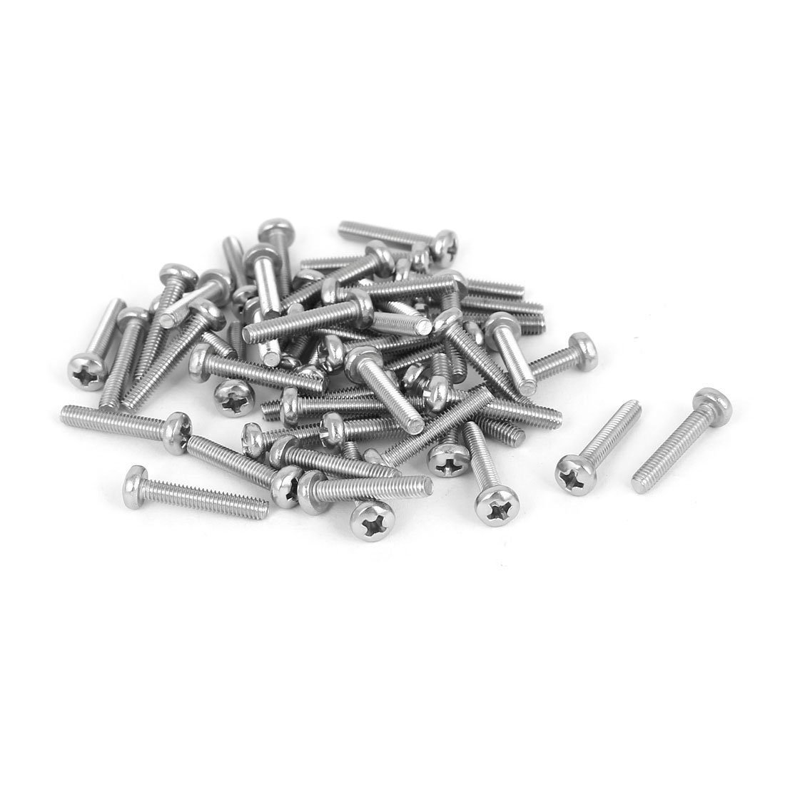 50 Pcs M2.5x14mm 316 Stainless Steel Phillips Pan Head Machine Screws Fasteners