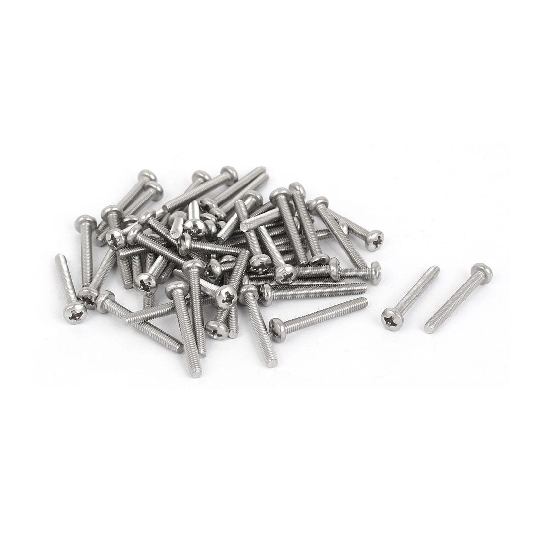 50 Pcs M2.5x20mm 316 Stainless Steel Phillips Pan Head Machine Screws Fasteners