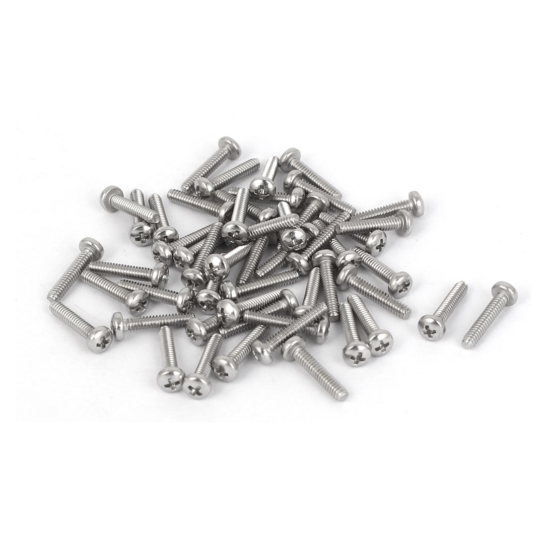 50 Pcs M1.6x8mm 316 Stainless Steel Phillips Pan Head Machine Screws Bolts