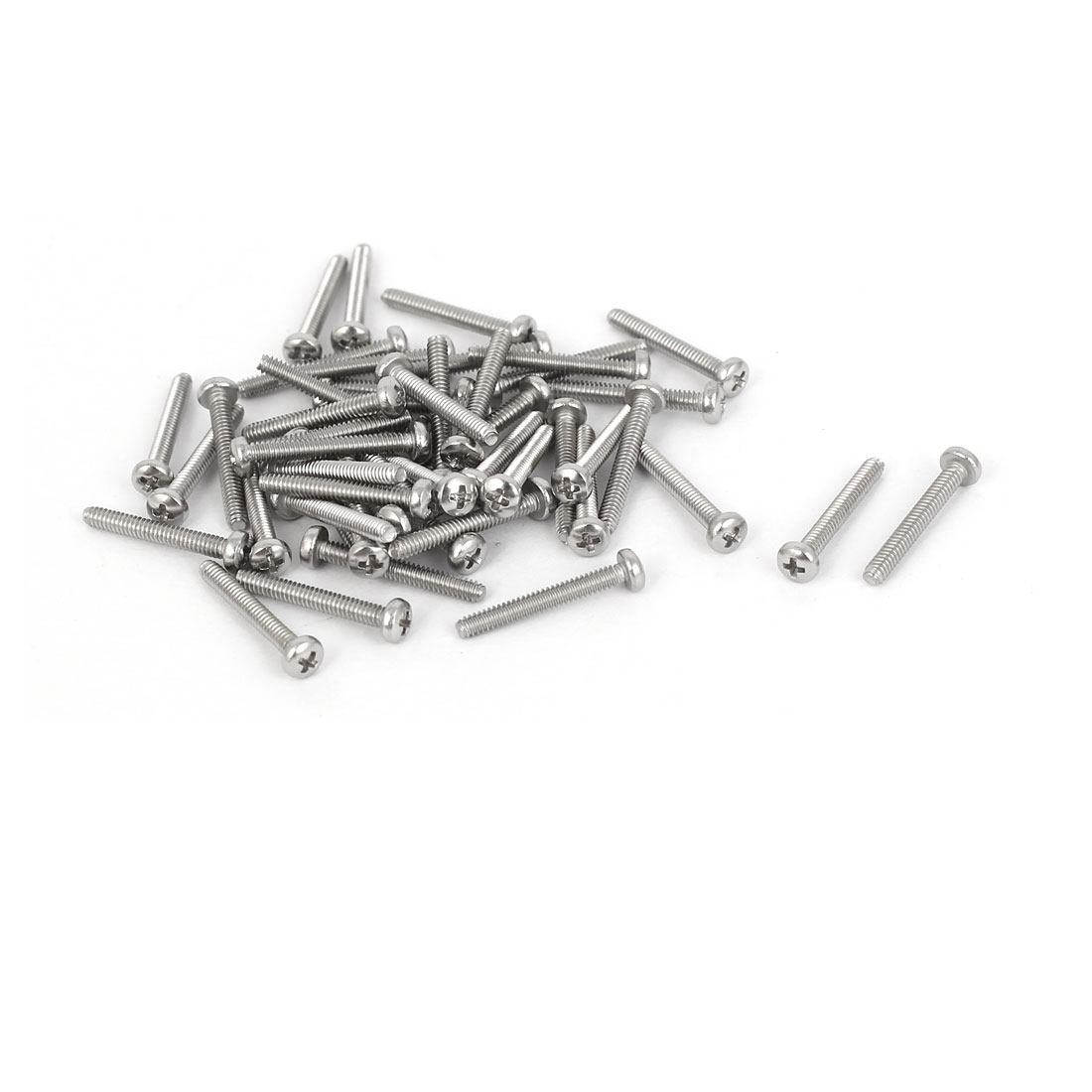 50 Pcs M1.6x12mm 316 Stainless Steel Phillips Pan Head Machine Screws Bolts
