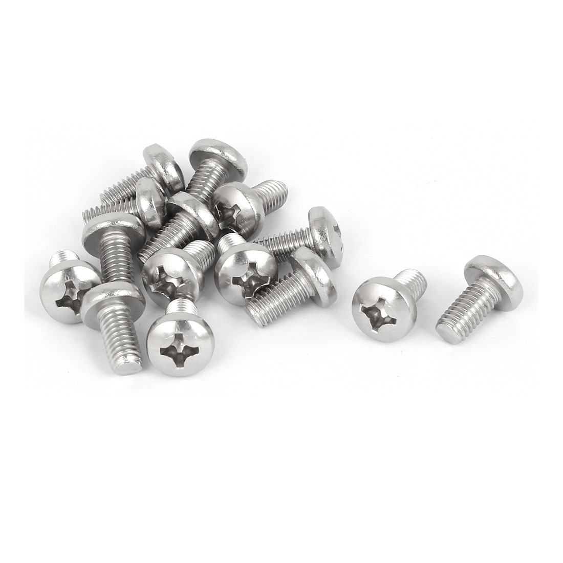 15 Pcs M6x12mm 316 Stainless Steel Phillips Pan Head Machine Screws Silver Tone