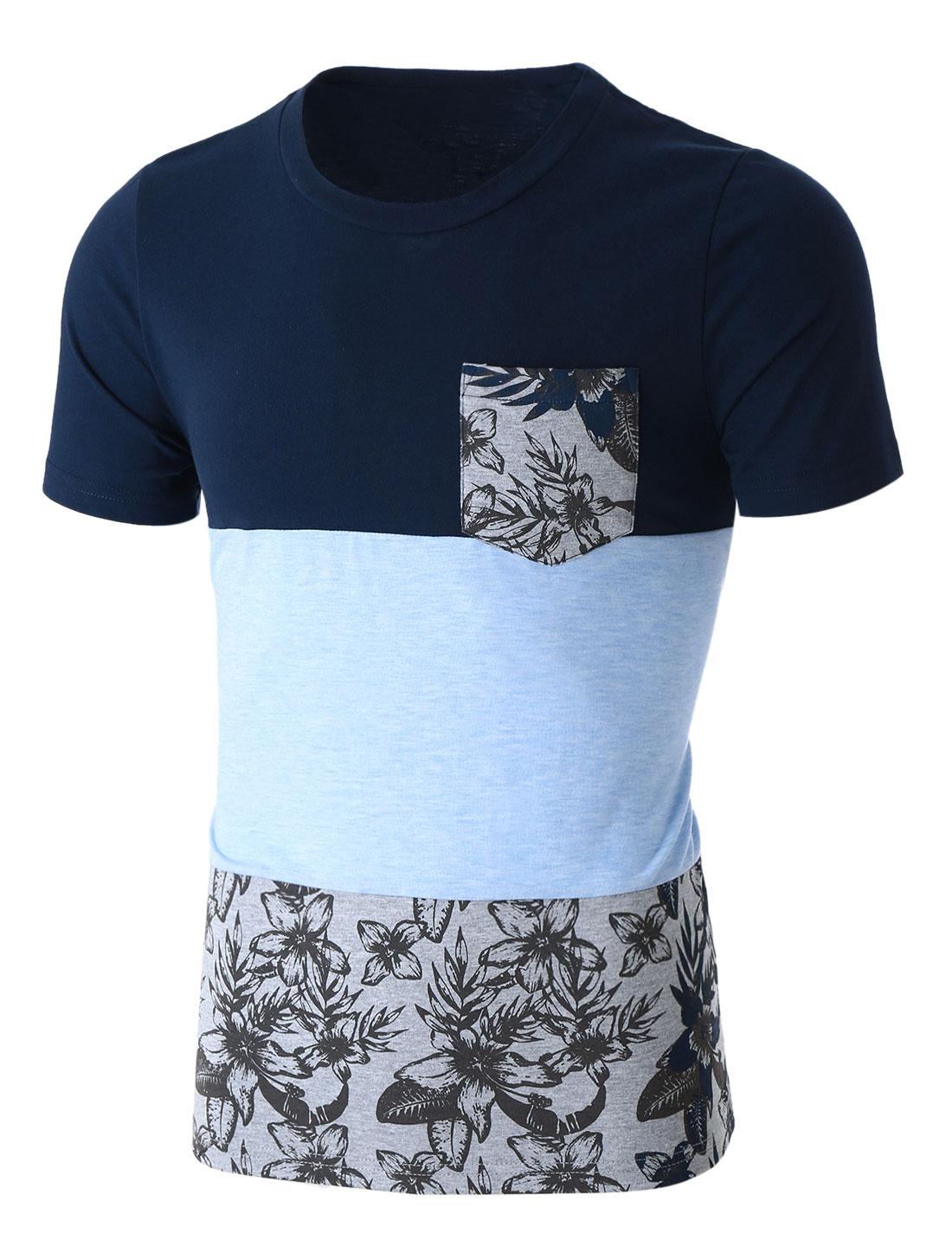 Men Floral Print Panel Color Block Crew Neck T-Shirt Blue L