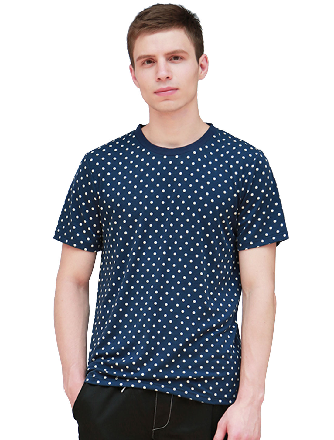 Men Allover Dot Print Short Sleeves Crew Neck Tee Blue L