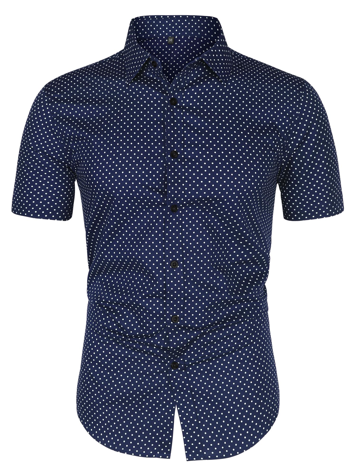 Men Short Sleeves Button Up Cotton Polka Dots Shirt Blue M