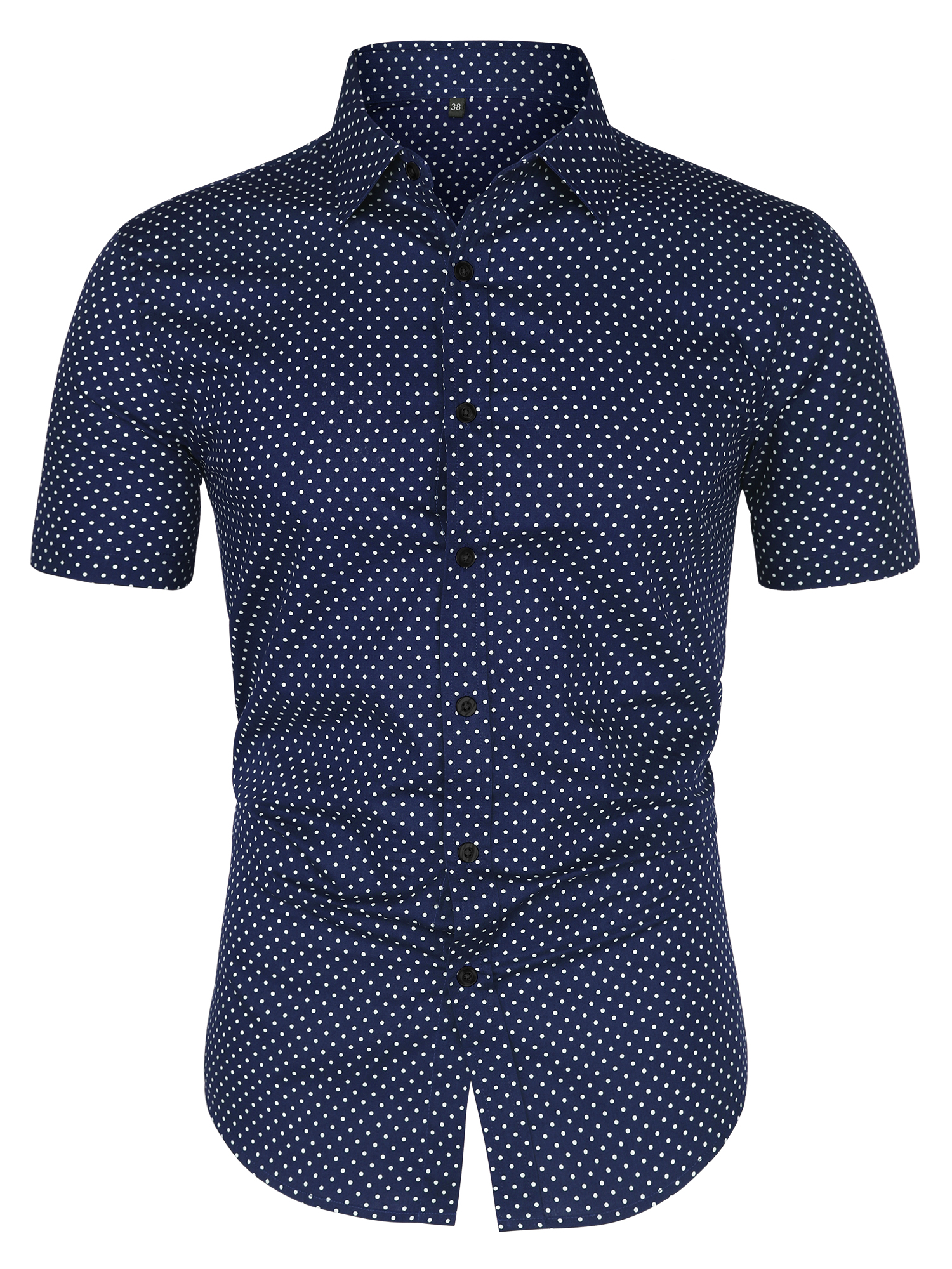 Men Short Sleeves Button Up Cotton Polka Dots Shirt Blue L