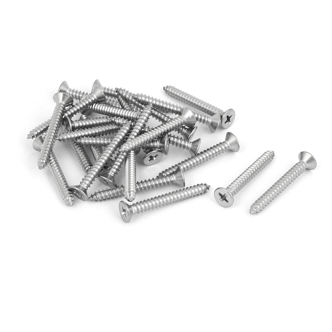 25 Pcs M4.2x35mm 316 Stainless Steel Flat Head Phillips Self Tapping Screws