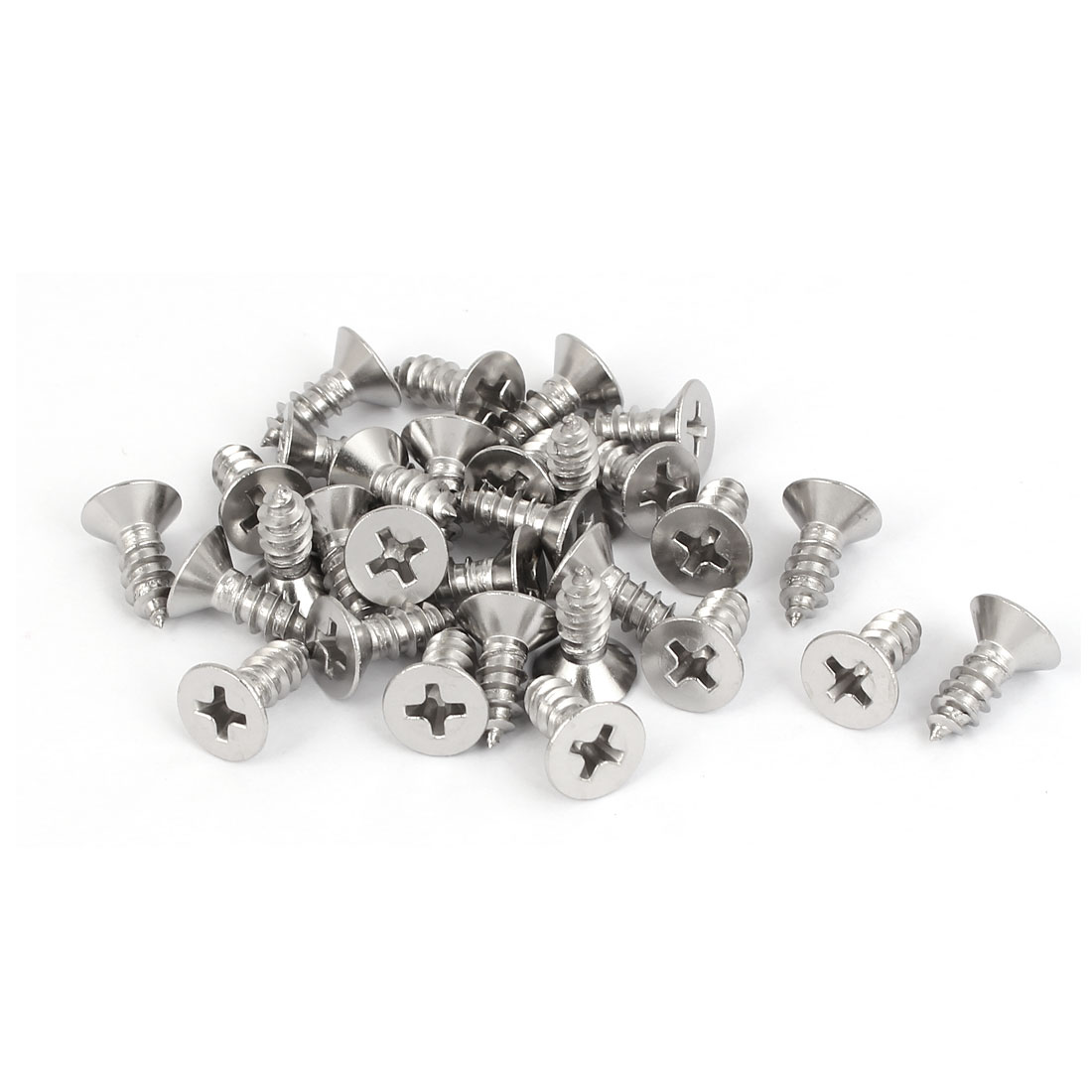 M4.8x13mm 316 Stainless Steel Phillips Flat Head Self Tapping Screws 30pcs