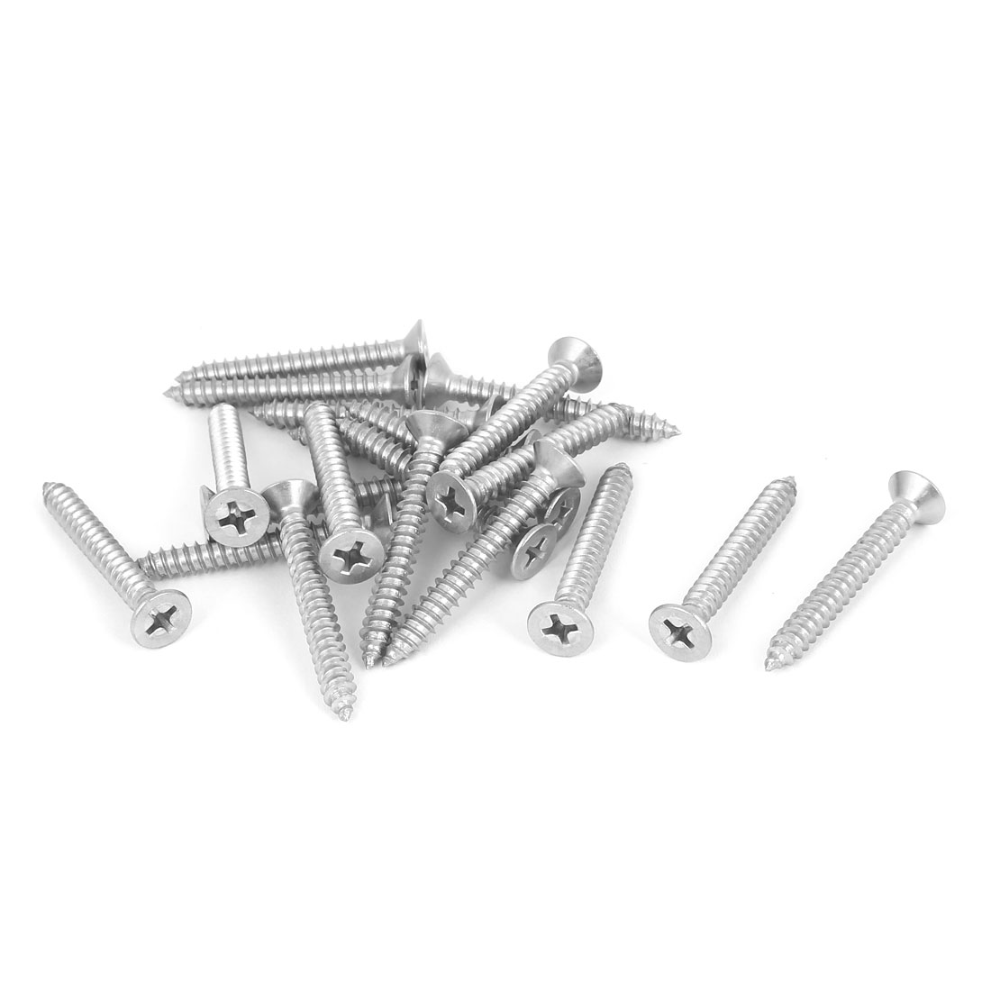 M4.8x38mm 316 Stainless Steel Flat Head Phillips Self Tapping Screws Bolts 20pcs