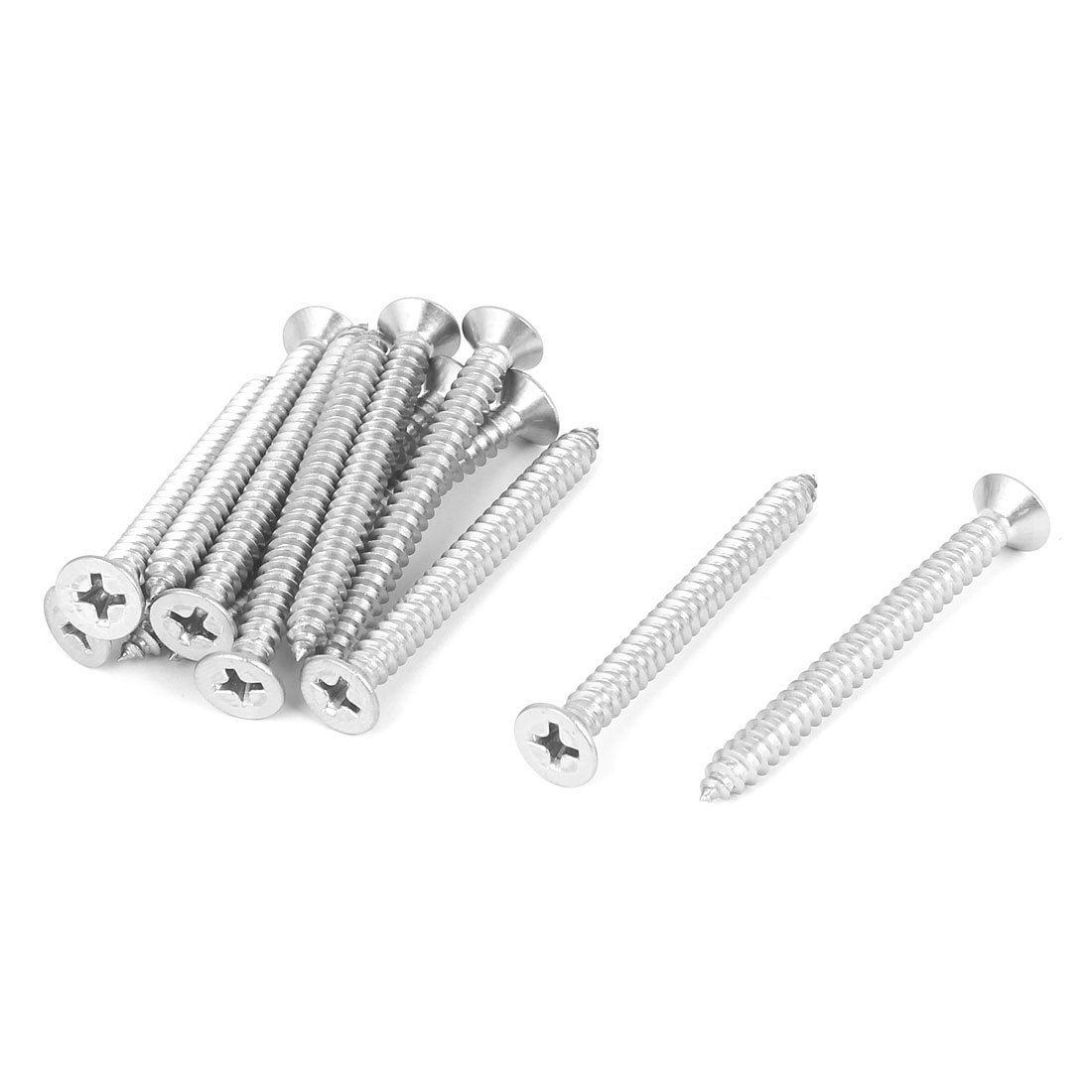M4.8x50mm 316 Stainless Steel Flat Head Phillips Self Tapping Screws Bolts 12pcs