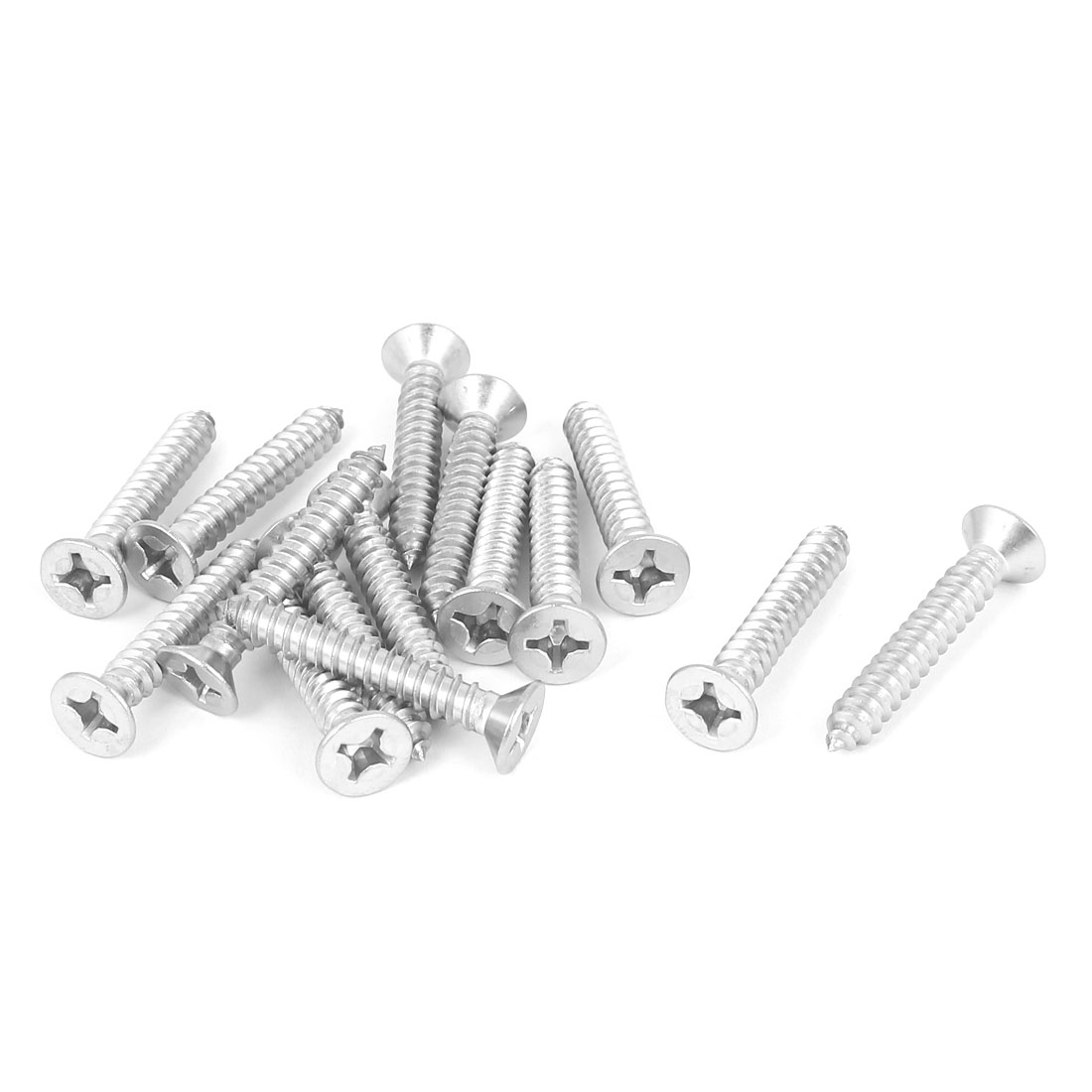 M5.5x35mm 316 Stainless Steel Flat Head Phillips Self Tapping Screws Bolts 15pcs