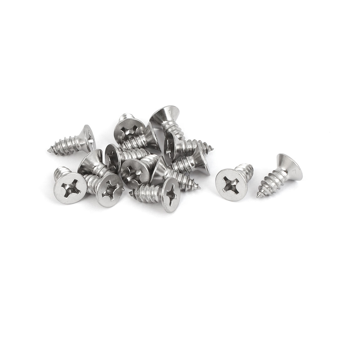 M6.3x16mm 316 Stainless Steel Flat Head Phillips Self Tapping Screws Bolts 15pcs