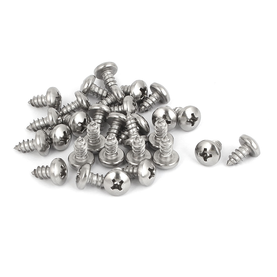 M4.8x9.5mm 316 Stainless Steel Phillips Round Pan Head Self Tapping Screws 30pcs
