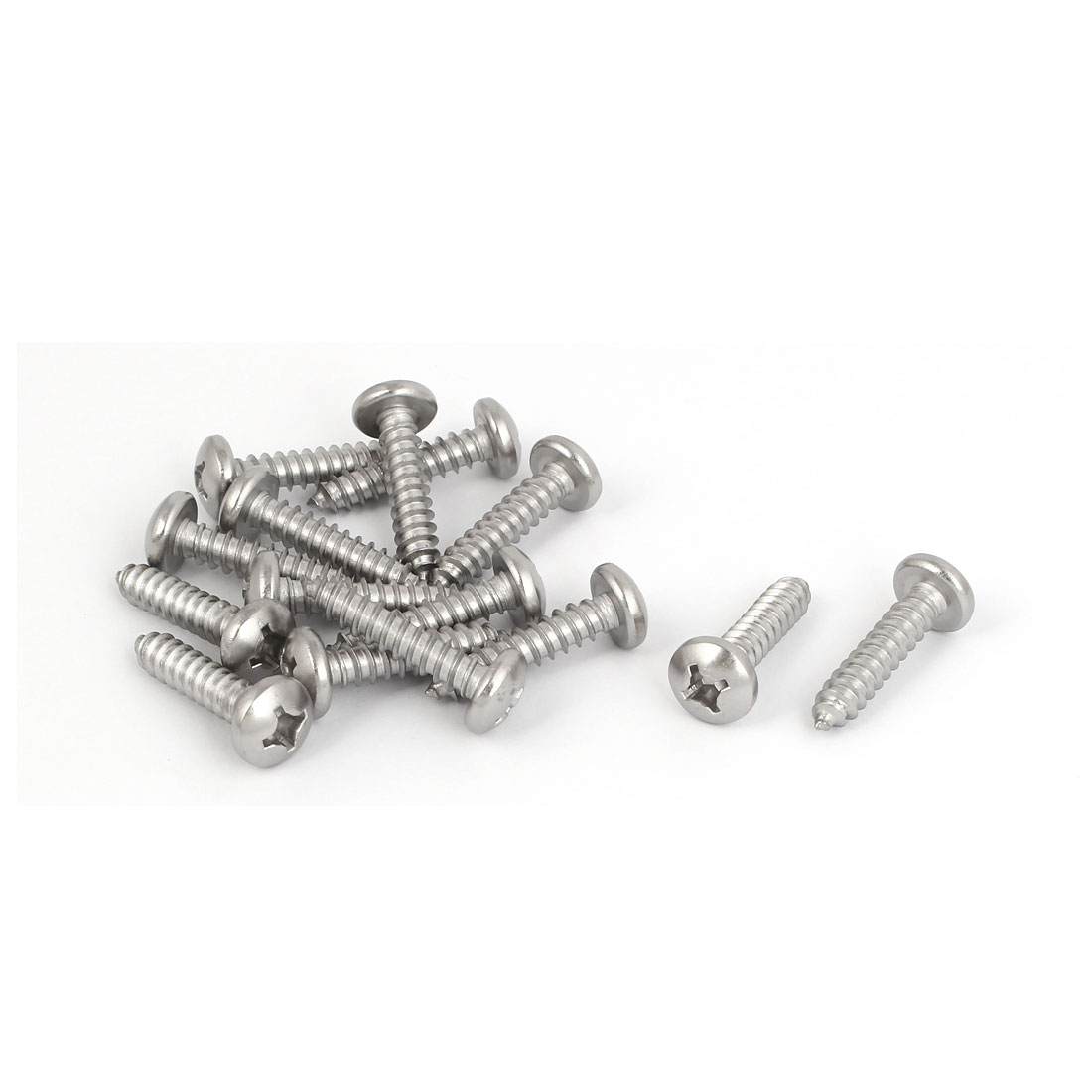 M5.5x25mm 316 Stainless Steel Phillips Pan Round Head Self Tapping Screws 15pcs