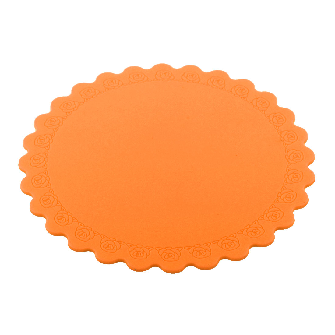 Silicone Rose Carven Table Heat Resistant Mat Cup Coaster Cushion Placemat Pad Orange
