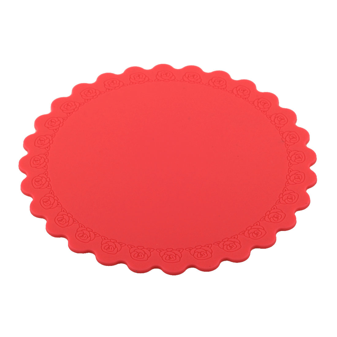 Silicone Rose Carven Table Heat Resistant Mat Cup Coaster Cushion Placemat Pad Red