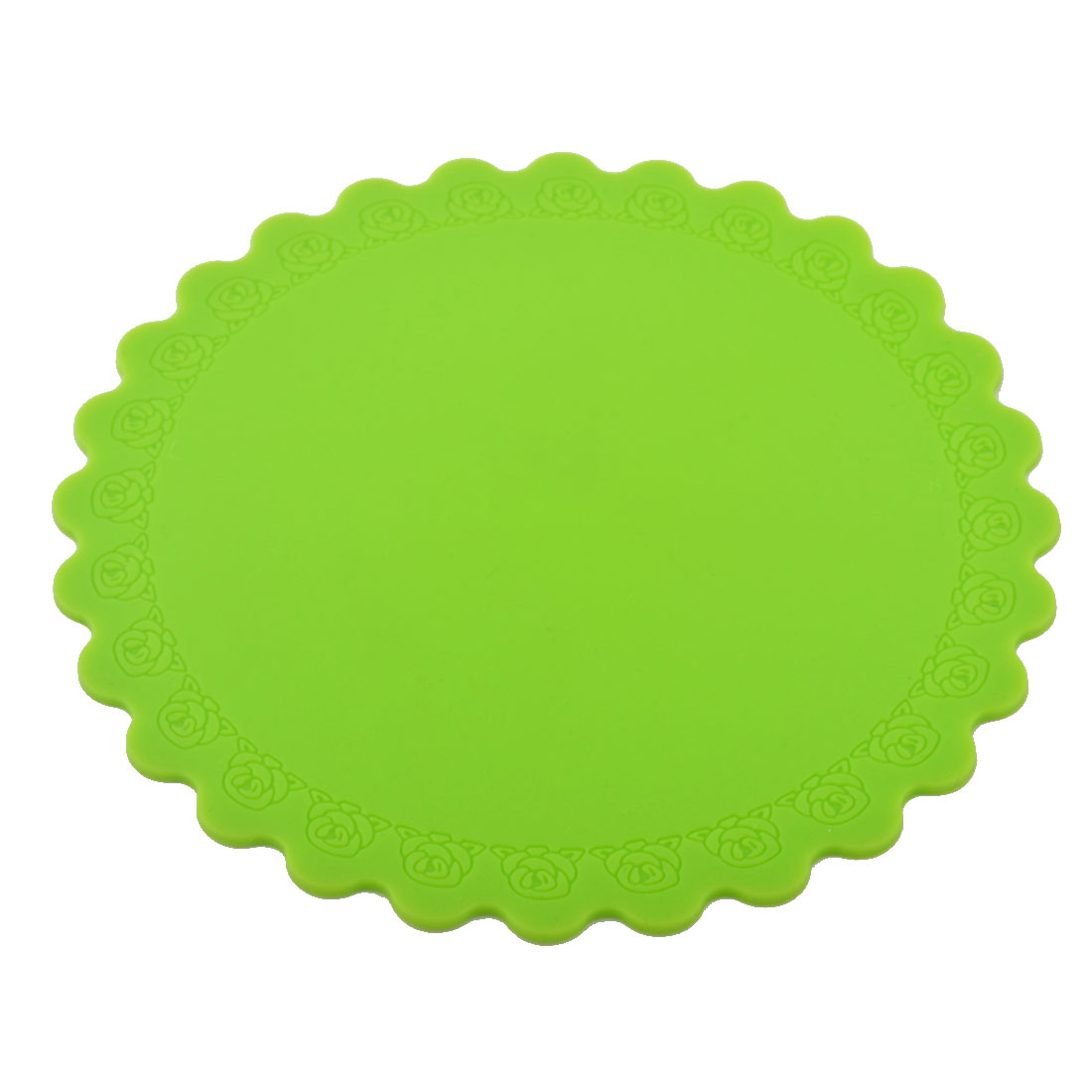 Silicone Rose Carven Table Heat Resistant Mat Cup Coaster Cushion Placemat Pad Green