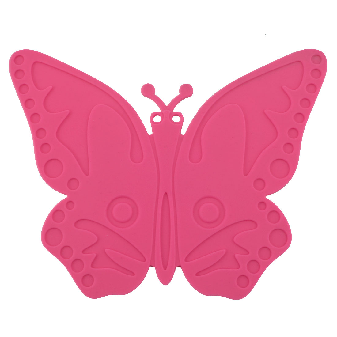 Silicone Butterfly Design Heat Resistant Mat Cup Coaster Cushion Placemat Fuchsia