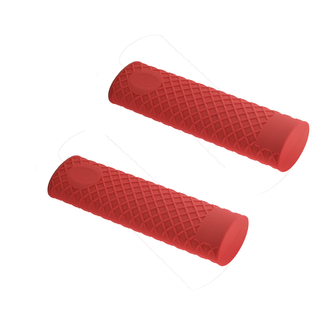 Kitchen Heat Resistant Silicone Pot Pan Handle Grip Holder Sleeve Cover Red 2pcs