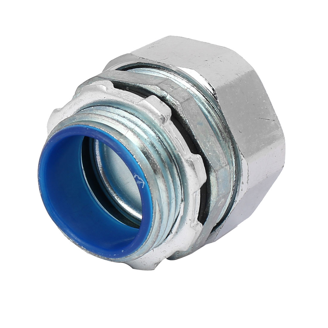 33mm 1BSP Male Thread Straight Pipe Fitting Coupler Tube Connector Silver Tone