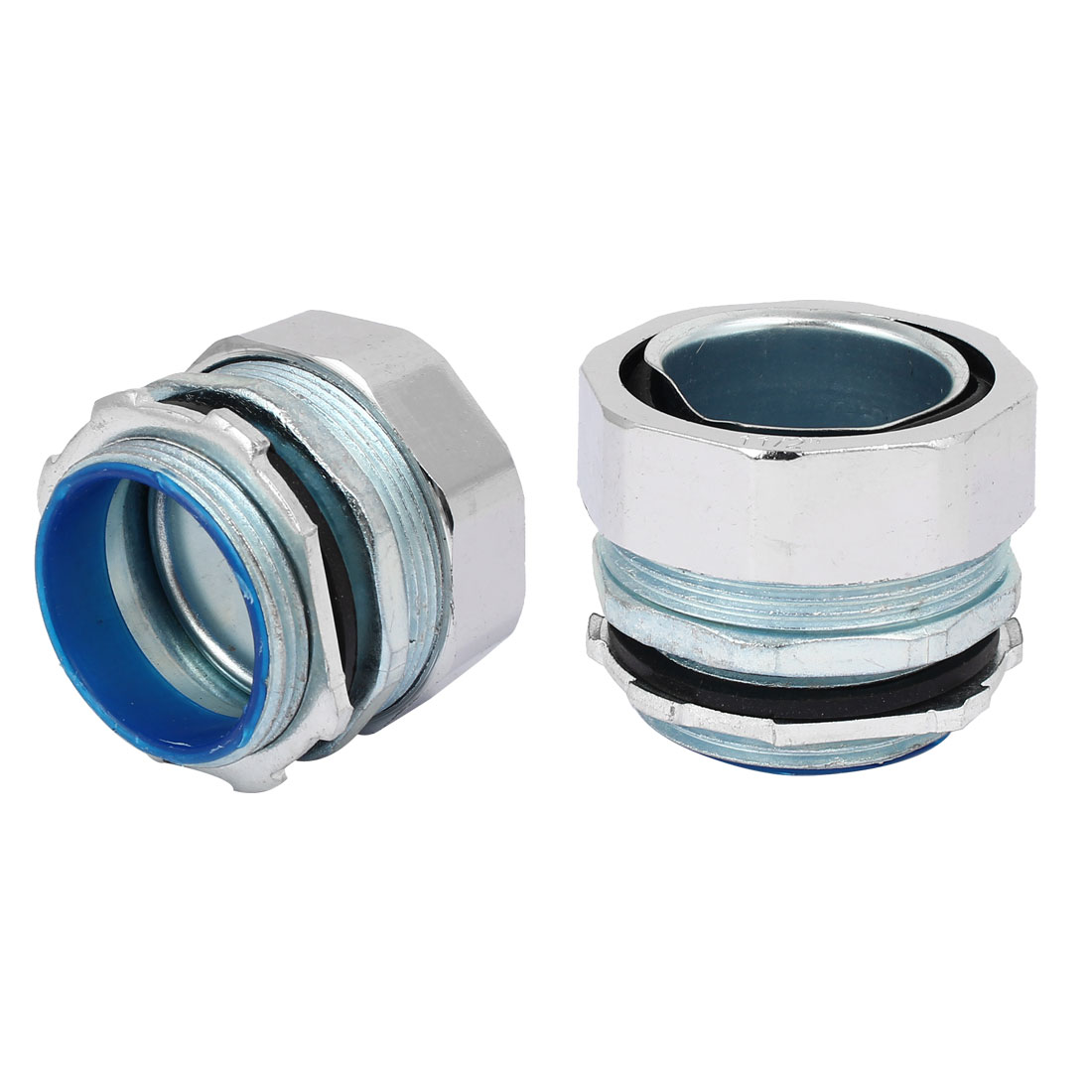 48mm 1-1/2BSP Male Thread Straight Pipe Fitting Tube Coupler Silver Tone 2pcs