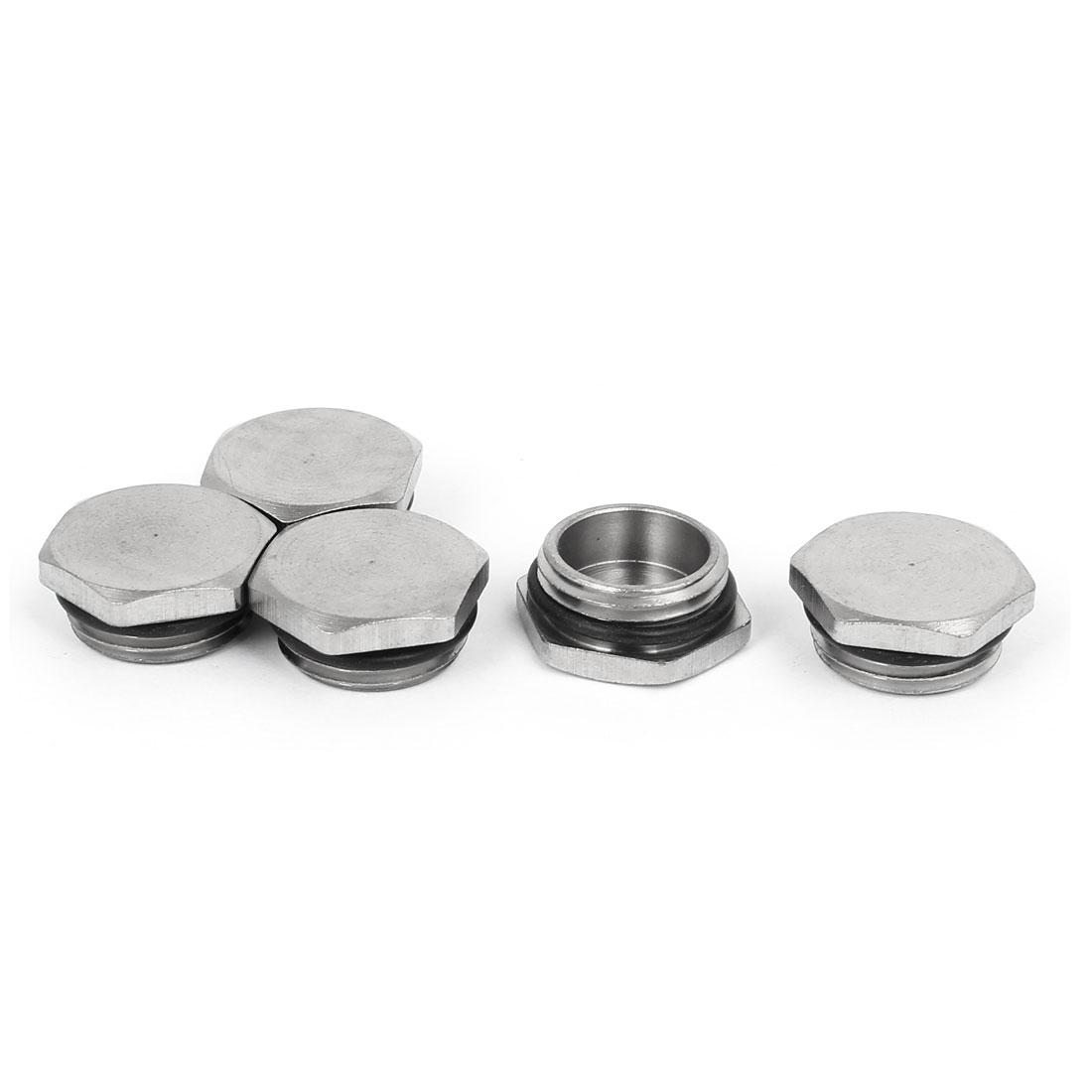 M18x1.5 Nickel Plated Waterproof Hex Head Pipe Silver Tone 5pcs