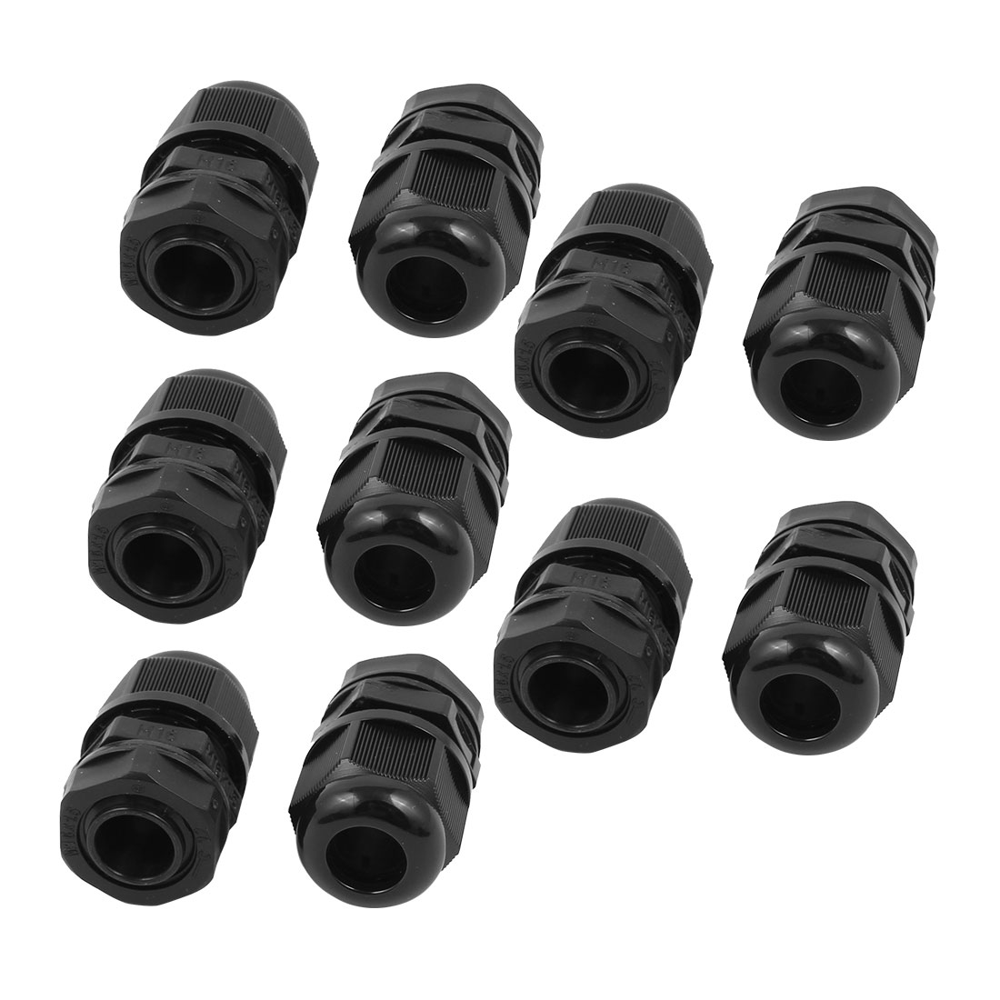 Black M16 Water Resistance Cable Gland Fixing Connector Joints Fastener 10 PCS