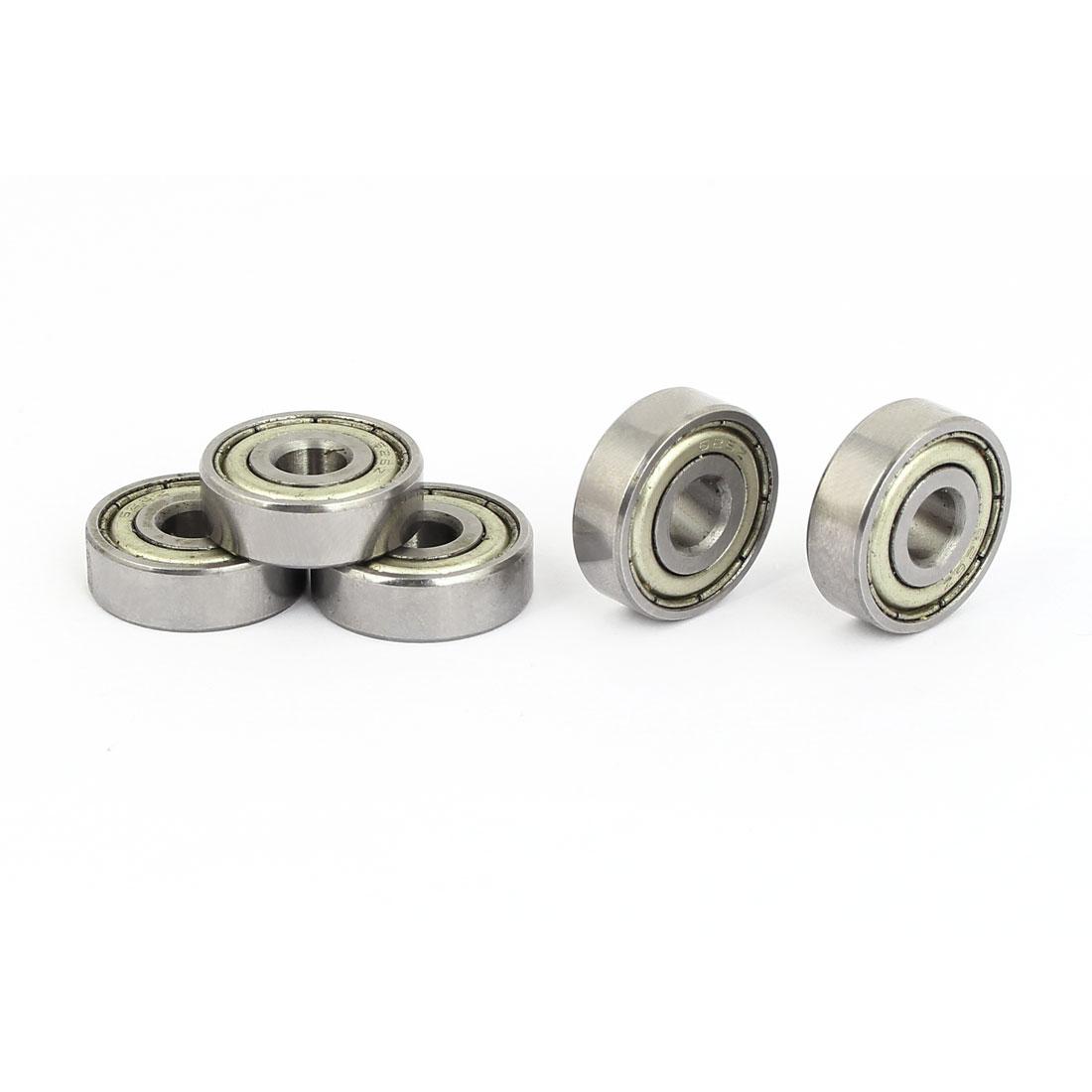 6mm x 19mm x 6mm Double Shielded Single Row Deep Groove Ball Bearings 5PCS