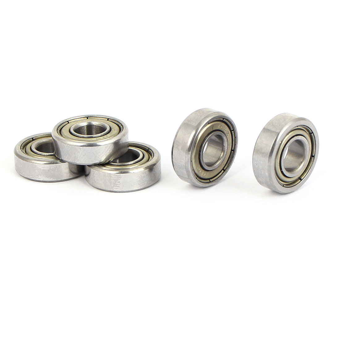 6mm Inside Dia Pressed Steel Cage Sealed Deep Groove Ball Wheel Bearings 5PCS