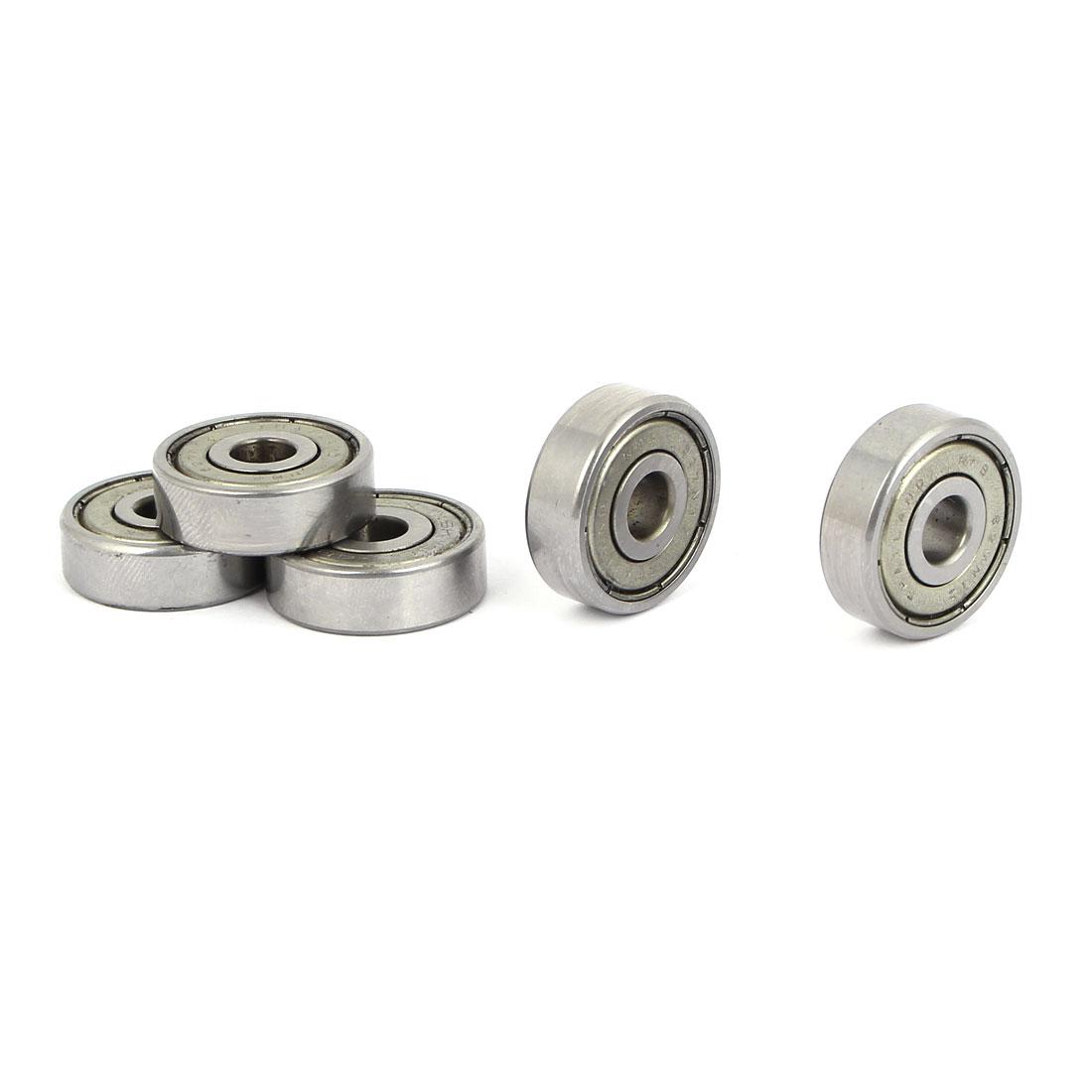 6mm x 22mm x 7mm Steel Sealed Single Row Deep Groove Ball Wheel Bearings 5PCS