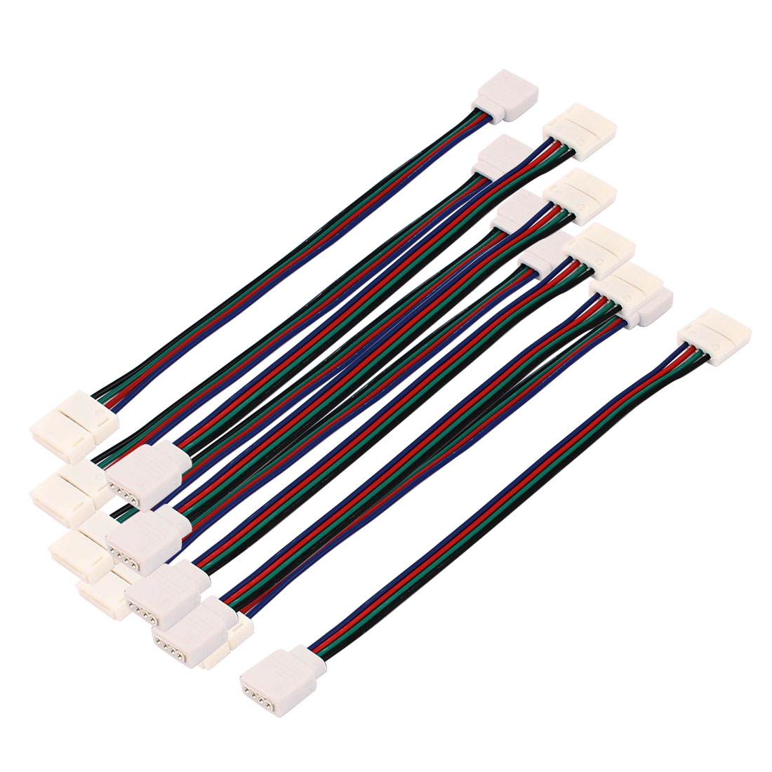 10Pcs RGB LED Light Strips 4 Pin FeMale to B4P-10 Connector Adapter Cable