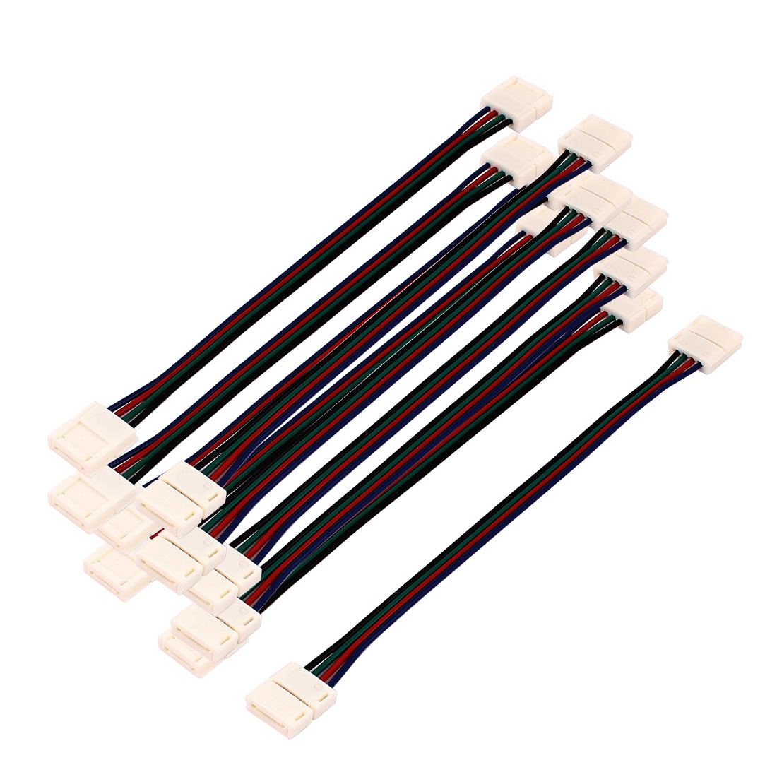 10Pcs 15cm Long 10mm Dual 4 Pole Wire Connector for Led 5050 RGB Lamp Strip