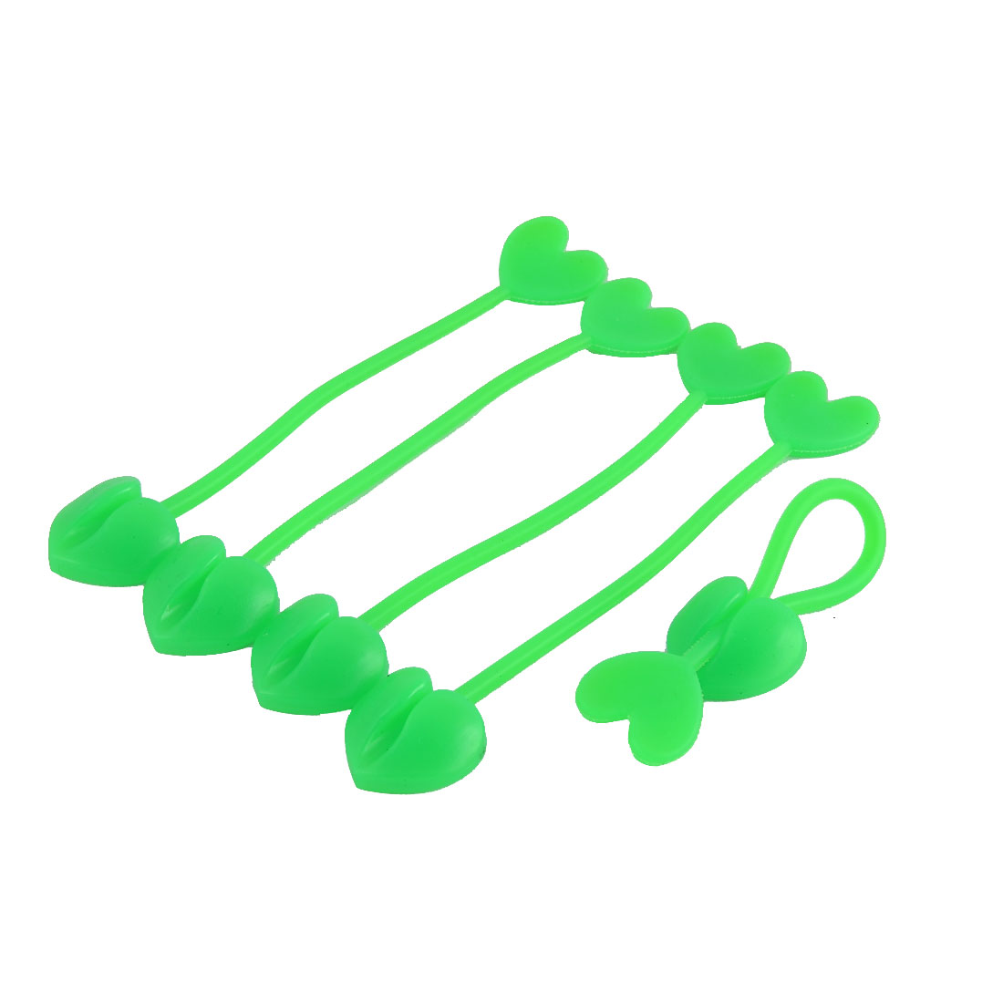Household Silicone Heart Design Tip Flexible Cable Tie Organizer Wrap Green 5pcs