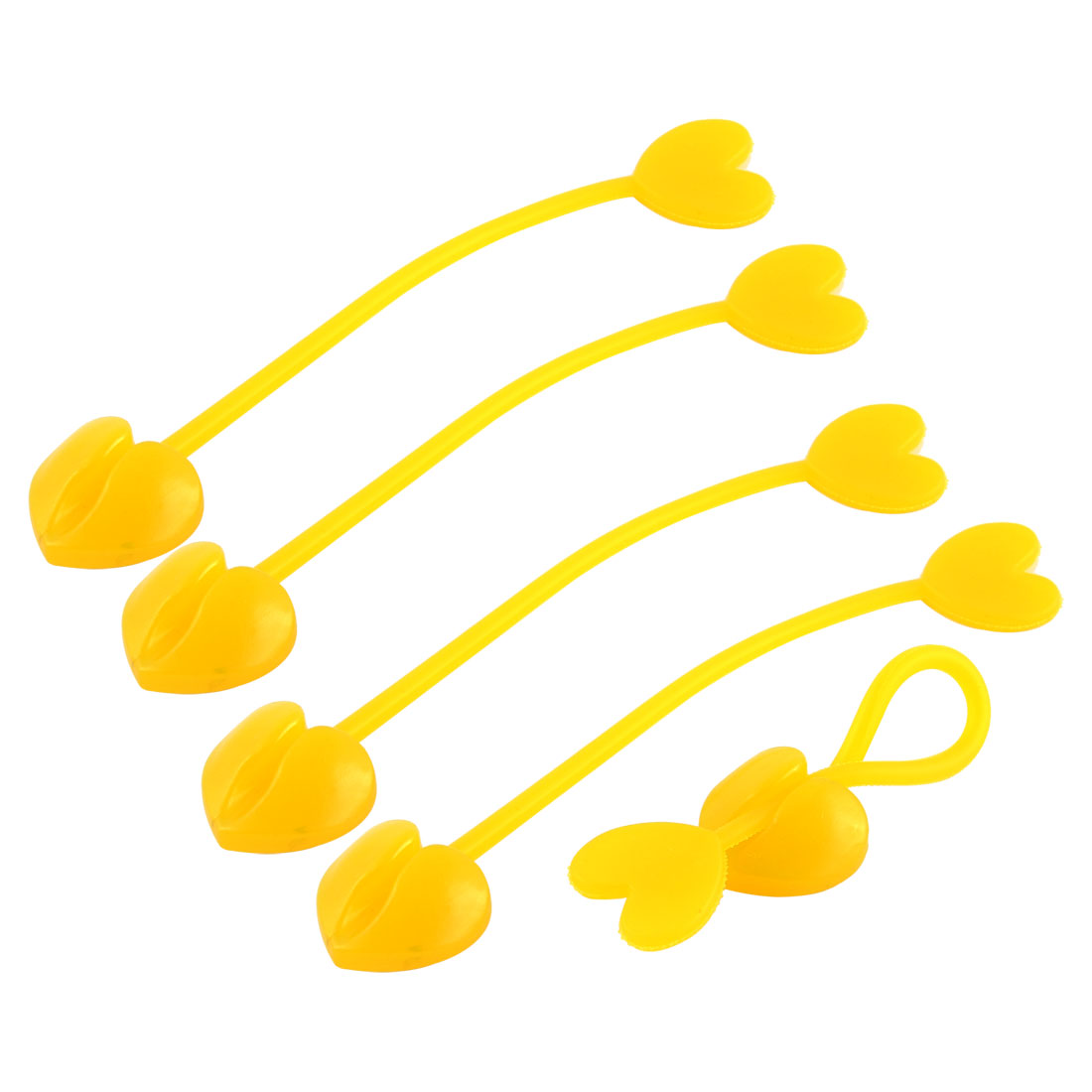 Household Silicone Heart Design Tip Flexible Cable Tie Organizer Wrap Yellow 5pcs