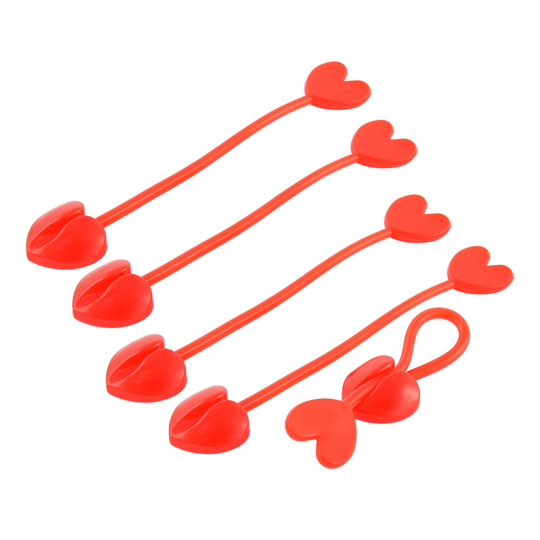 Household Silicone Heart Design Tip Flexible Cable Tie Organizer Wrap Red 5pcs